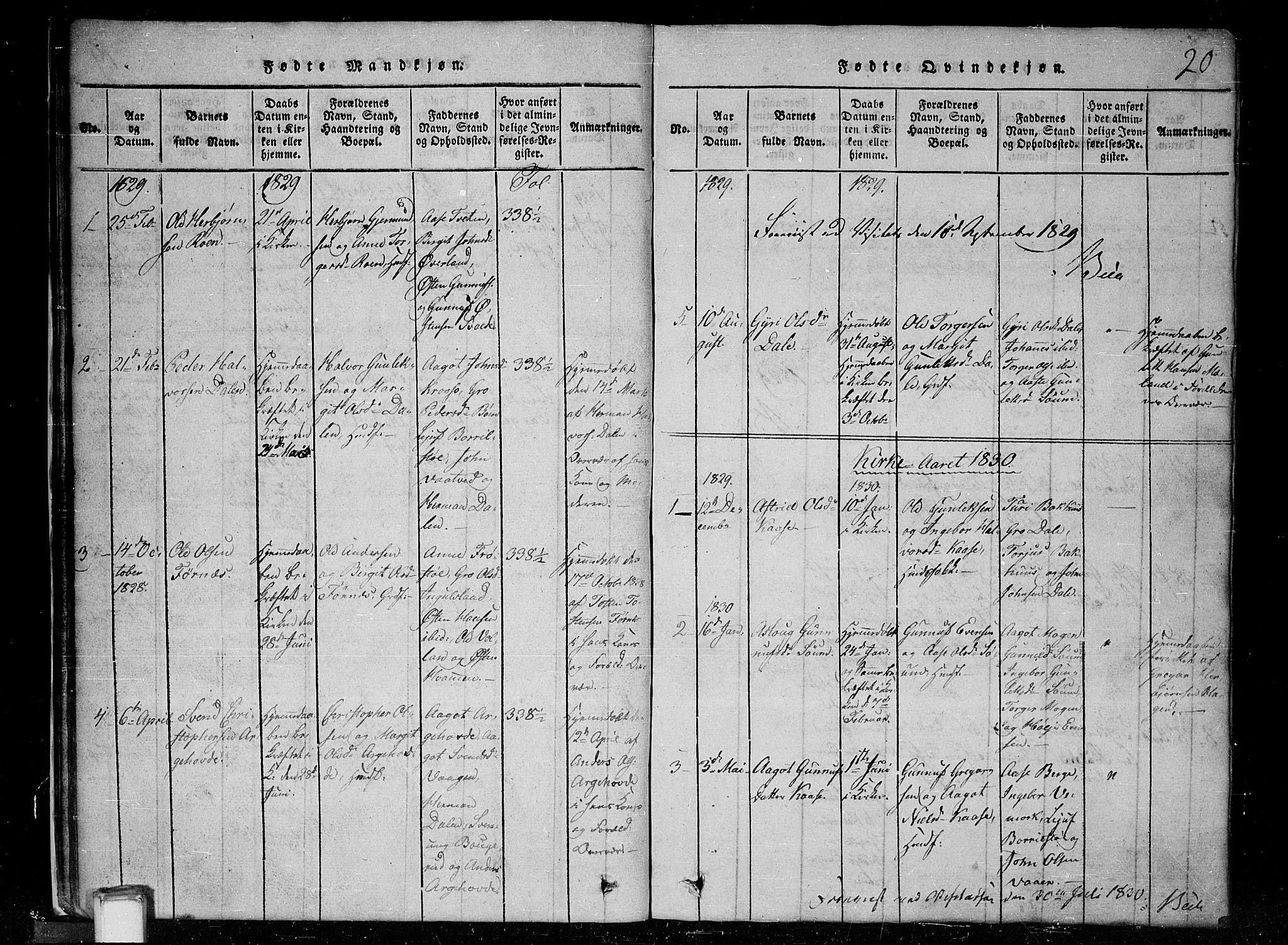 SAKO, Tinn kirkebøker, G/Gc/L0001: Klokkerbok nr. III 1, 1815-1879, s. 20