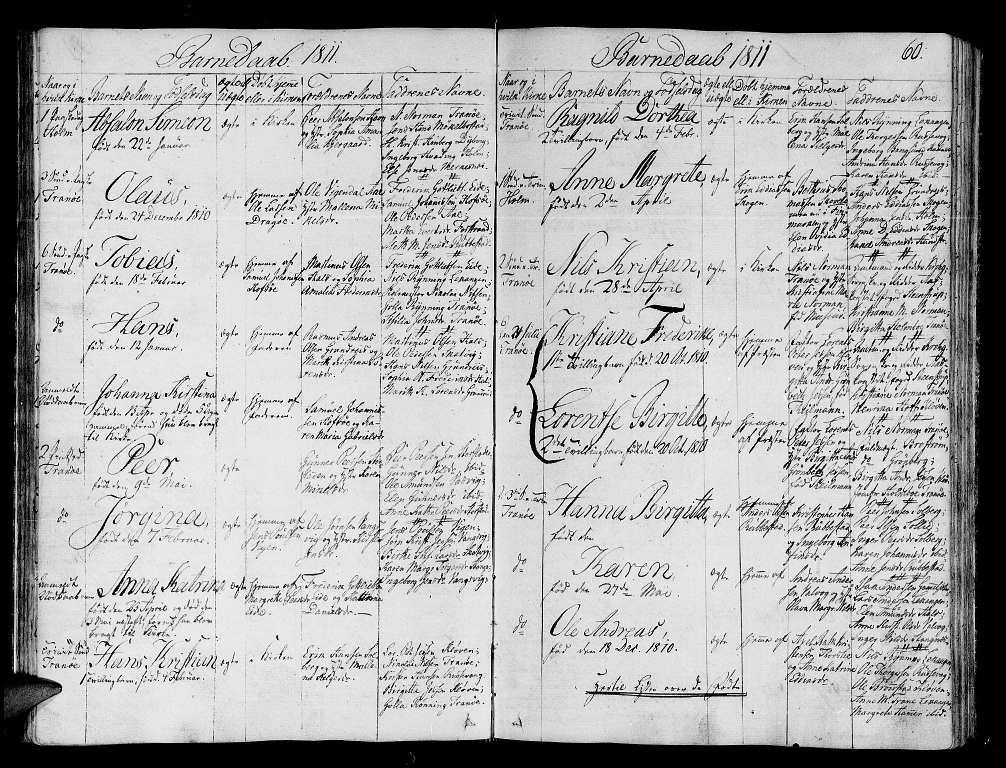 SATØ, Tranøy sokneprestkontor, I/Ia/Iaa/L0003kirke: Ministerialbok nr. 3, 1807-1820, s. 60