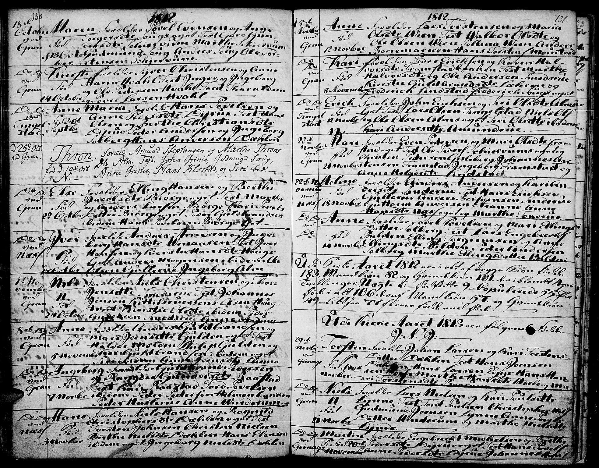 SAH, Gran prestekontor, Ministerialbok nr. 7, 1804-1815, s. 130-131