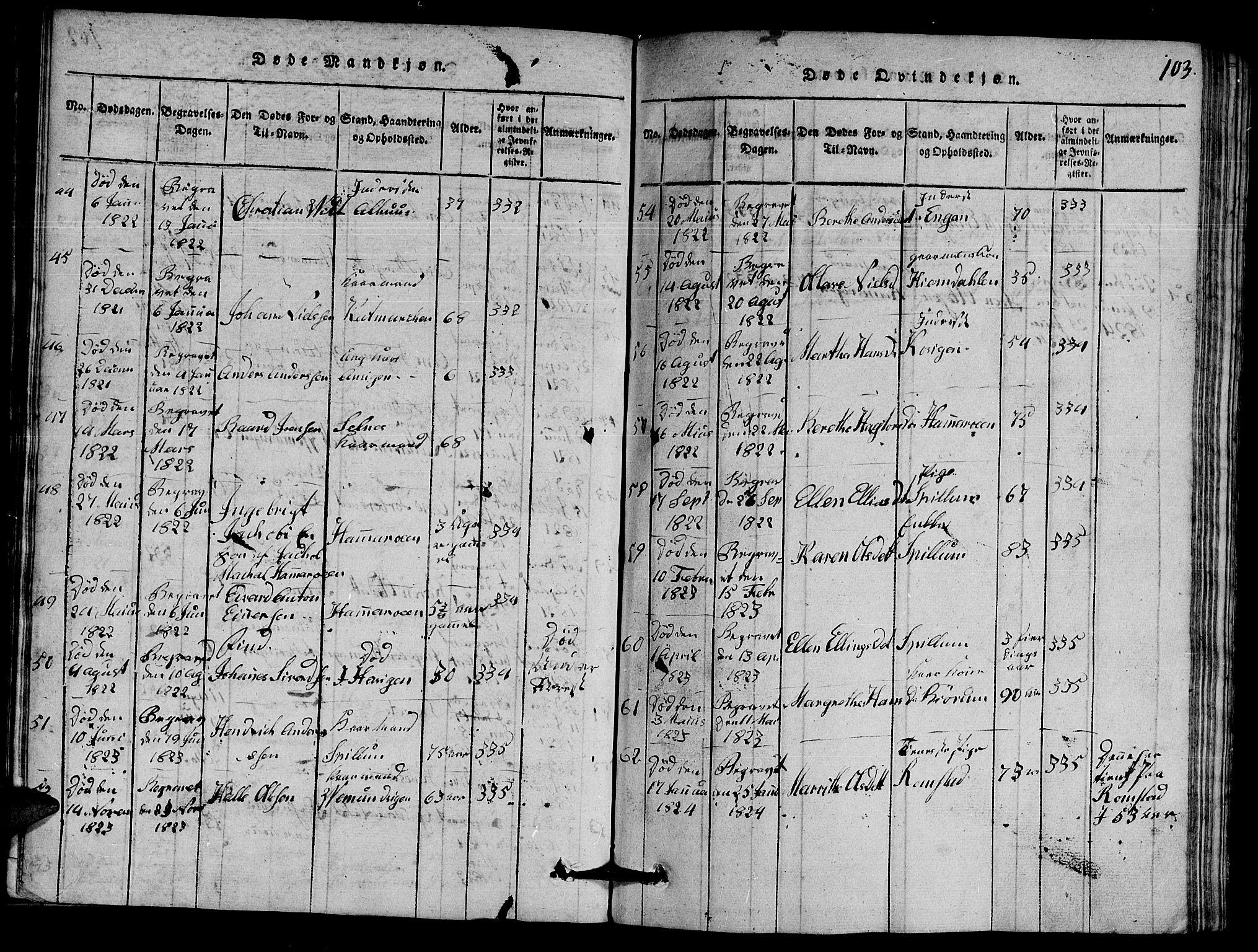 SAT, Ministerialprotokoller, klokkerbøker og fødselsregistre - Nord-Trøndelag, 770/L0590: Klokkerbok nr. 770C01, 1815-1824, s. 103