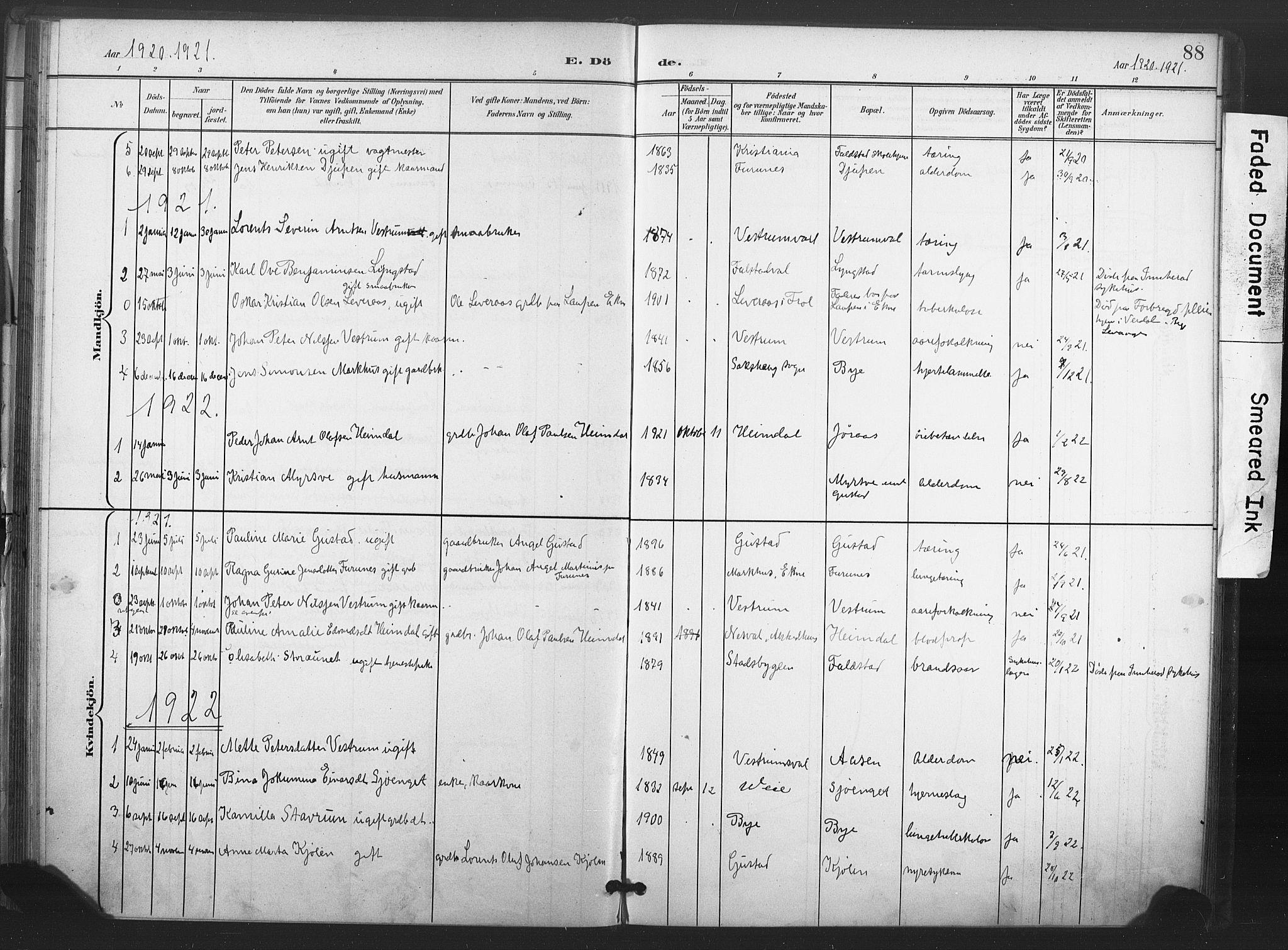 SAT, Ministerialprotokoller, klokkerbøker og fødselsregistre - Nord-Trøndelag, 719/L0179: Ministerialbok nr. 719A02, 1901-1923, s. 88