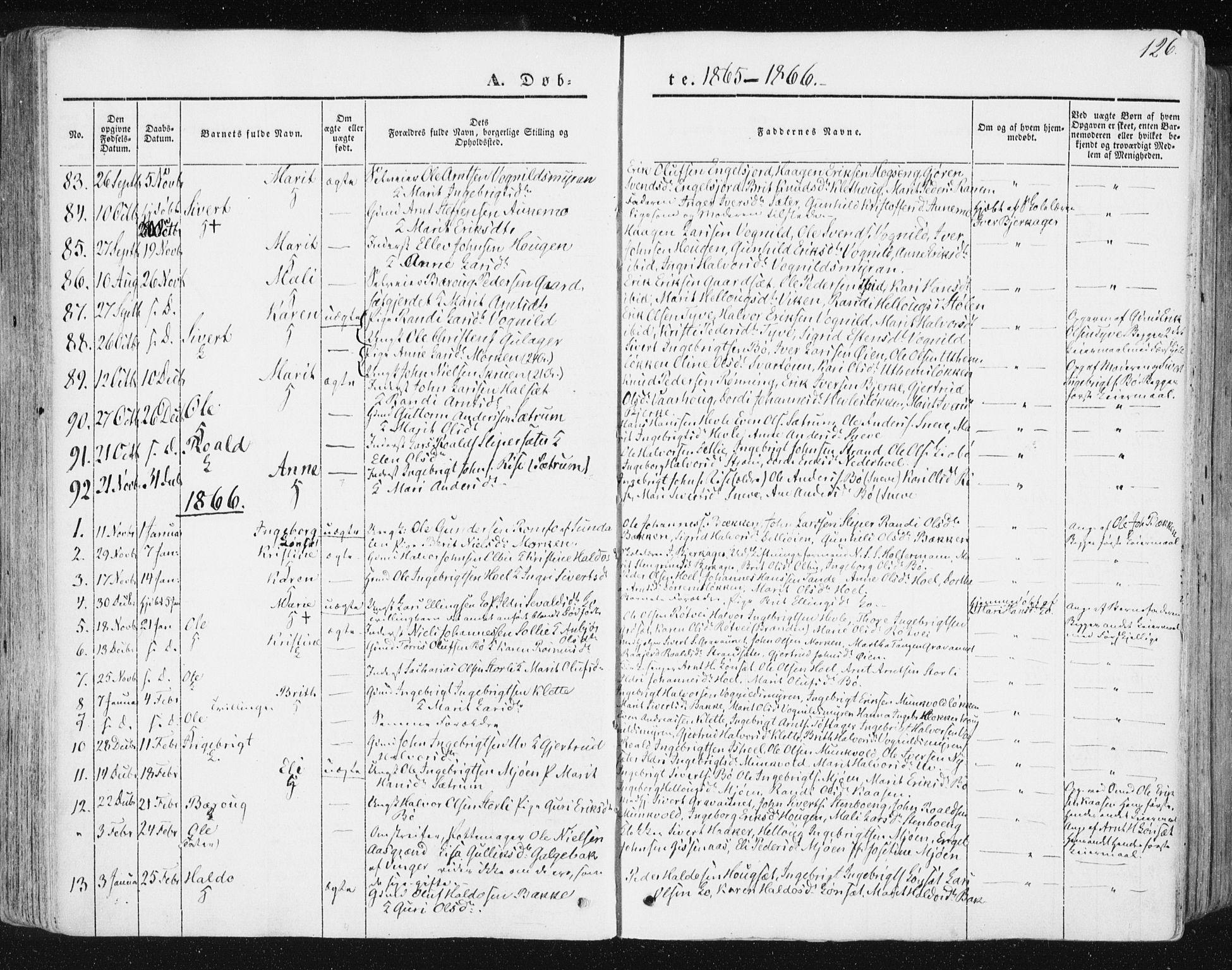 SAT, Ministerialprotokoller, klokkerbøker og fødselsregistre - Sør-Trøndelag, 678/L0899: Ministerialbok nr. 678A08, 1848-1872, s. 126