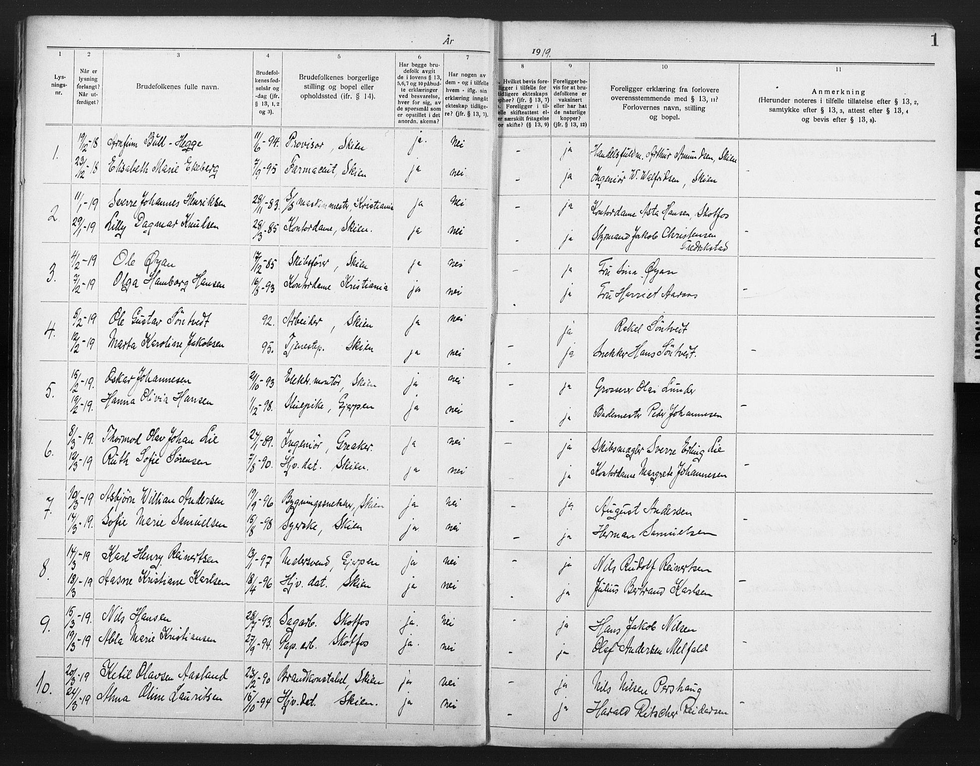 SAKO, Skien kirkebøker, H/Ha/L0001: Lysningsprotokoll nr. 1, 1919-1929, s. 1