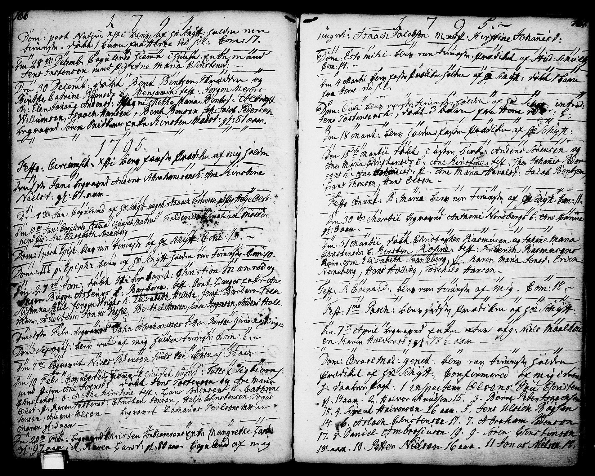 SAKO, Porsgrunn kirkebøker , F/Fa/L0001: Ministerialbok nr. 1, 1764-1814, s. 166-167