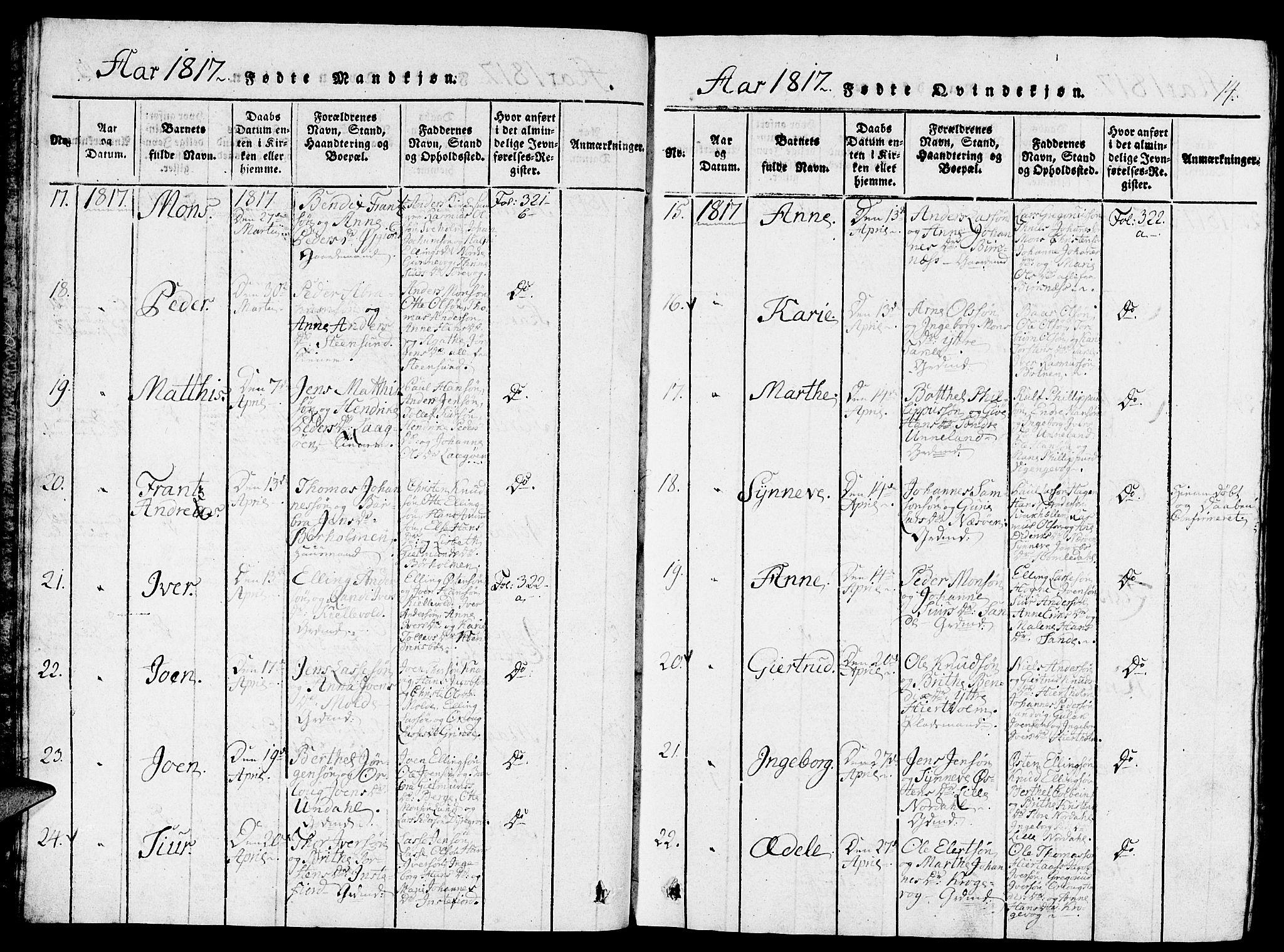 SAB, Gulen Sokneprestembete, Ministerialbok nr. A 18, 1816-1825, s. 14