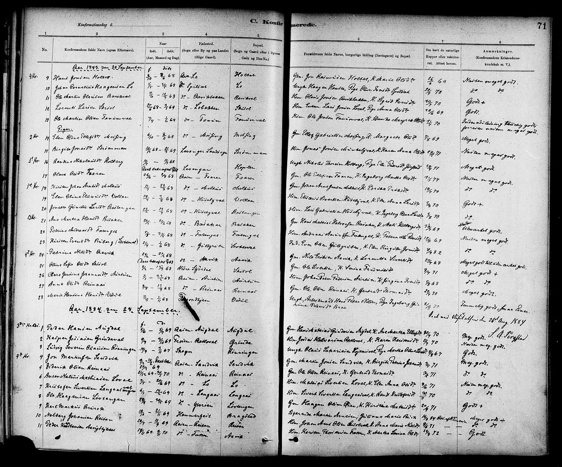 SAT, Ministerialprotokoller, klokkerbøker og fødselsregistre - Nord-Trøndelag, 714/L0130: Ministerialbok nr. 714A01, 1878-1895, s. 71