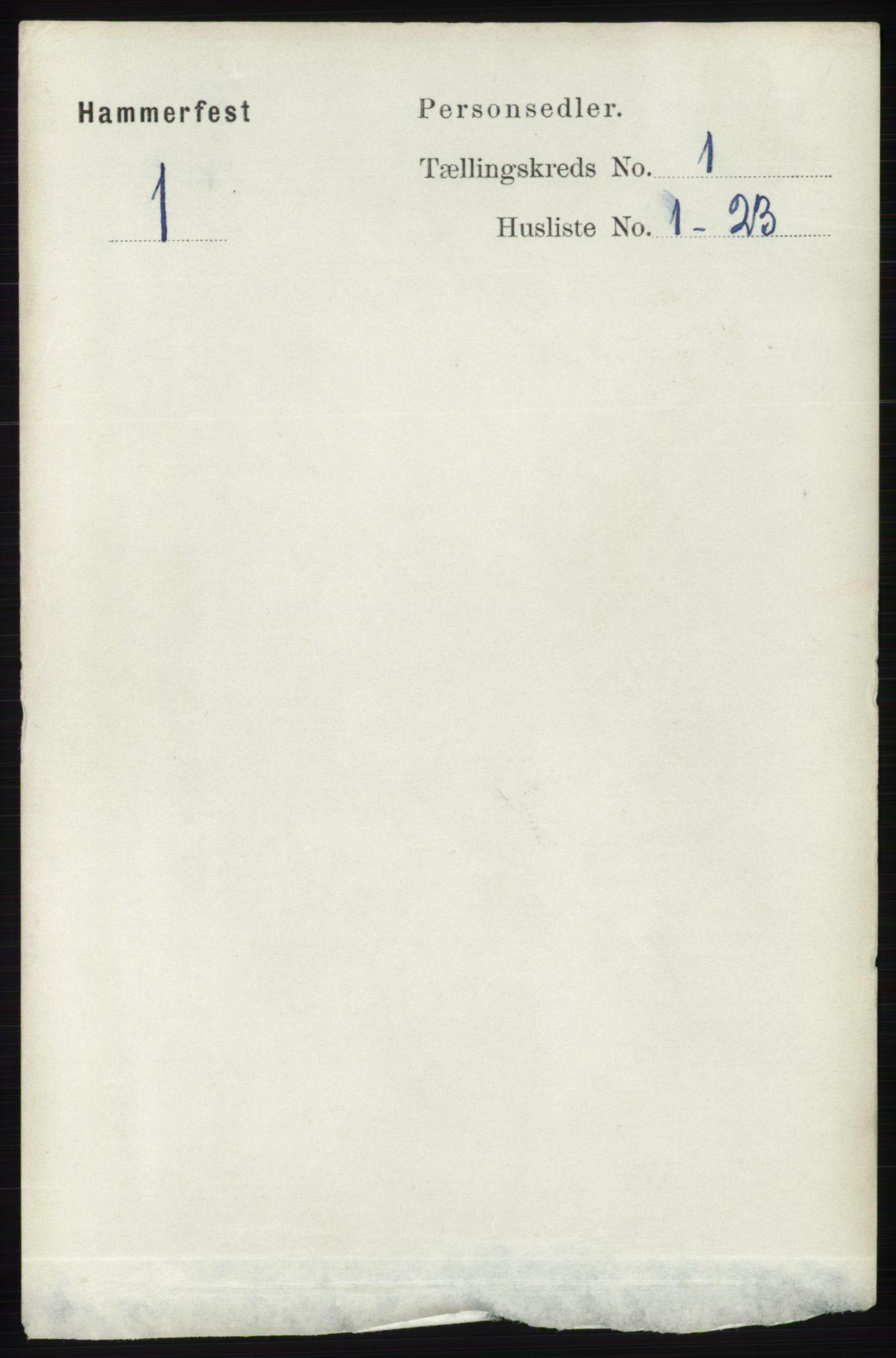 RA, Folketelling 1891 for 2001 Hammerfest kjøpstad, 1891, s. 65