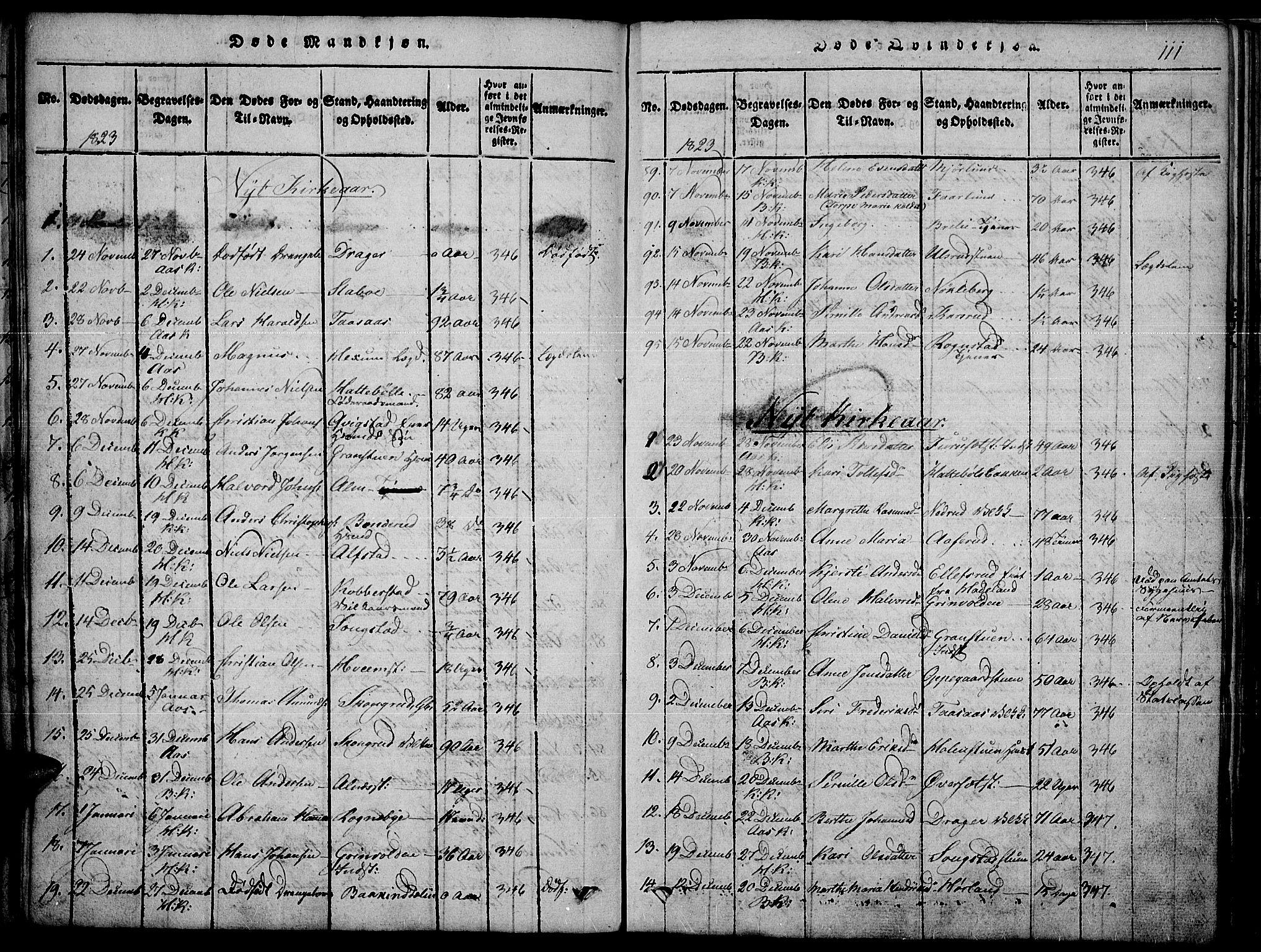 SAH, Toten prestekontor, Ministerialbok nr. 10, 1820-1828, s. 111
