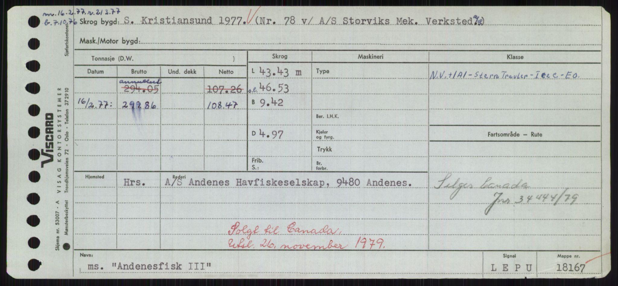 RA, Sjøfartsdirektoratet med forløpere, Skipsmålingen, H/Hd/L0001: Fartøy, A-Anv, s. 537