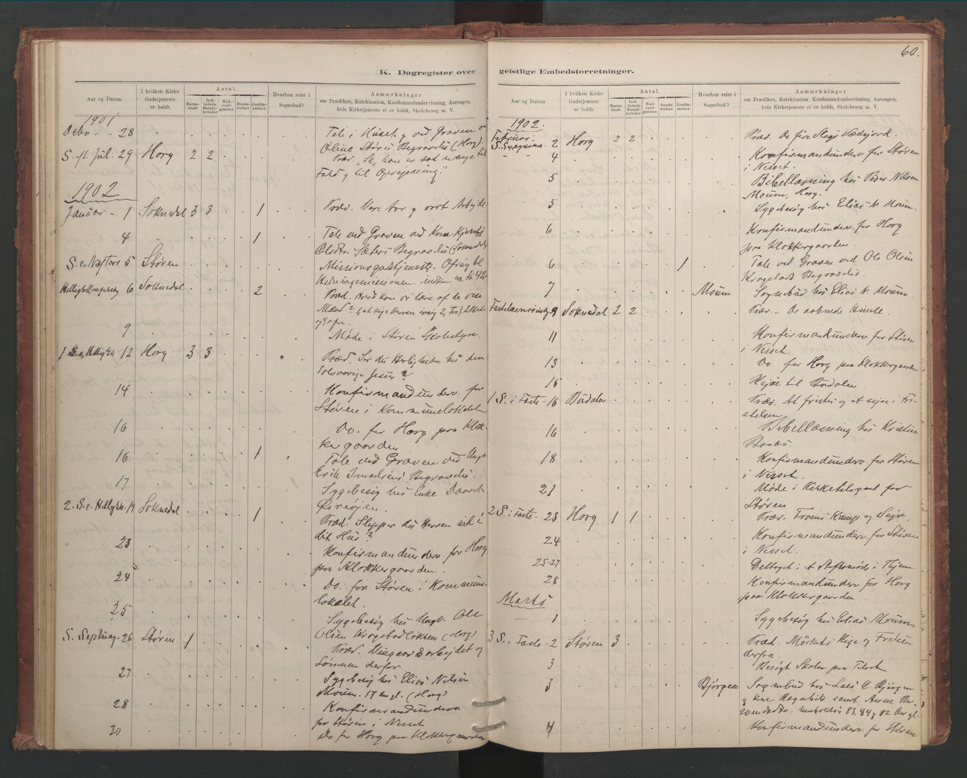 SAT, Ministerialprotokoller, klokkerbøker og fødselsregistre - Sør-Trøndelag, 687/L1012: Dagregister nr. 687B01, 1887-1914, s. 60