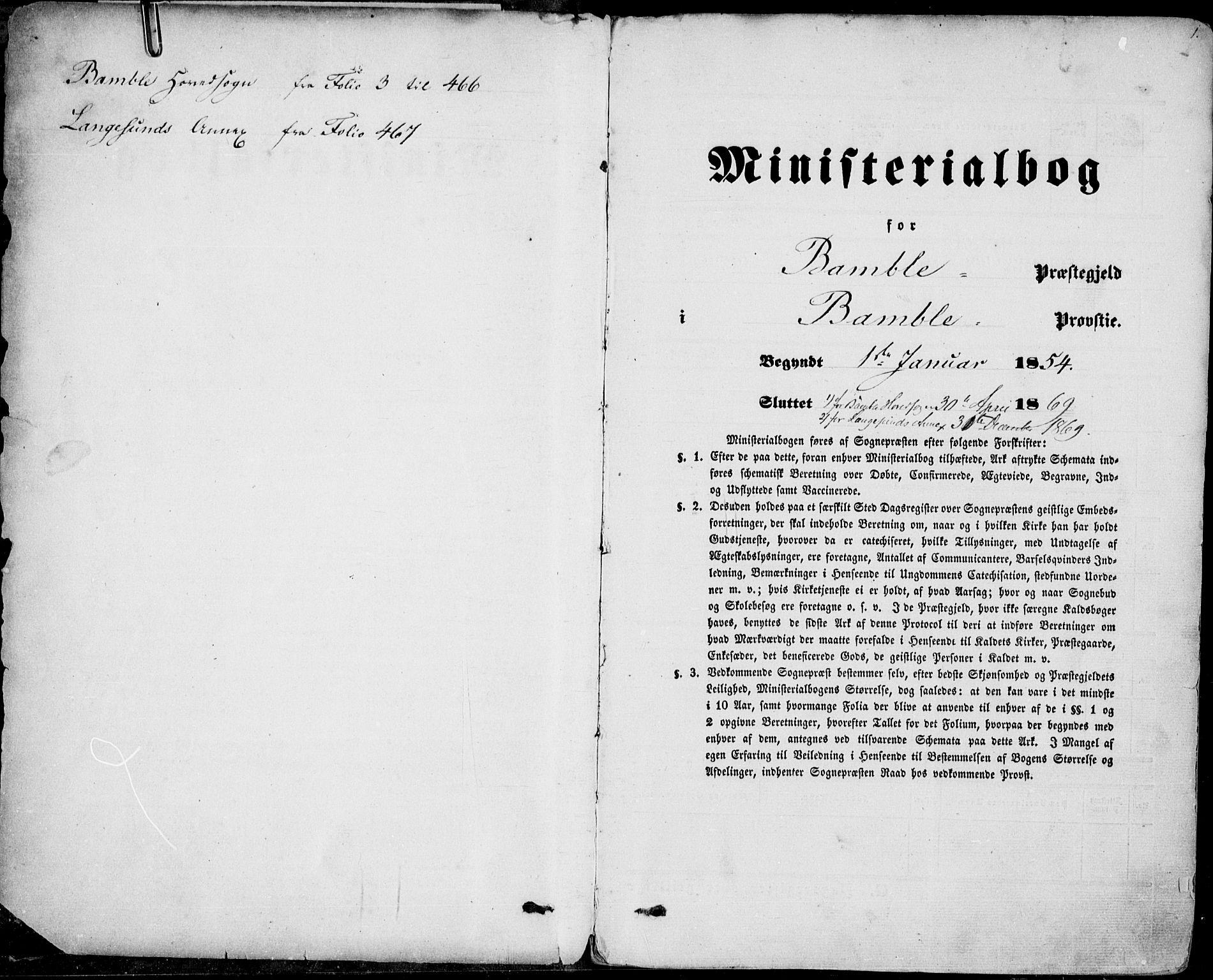 SAKO, Bamble kirkebøker, F/Fa/L0005: Ministerialbok nr. I 5, 1854-1869, s. 1
