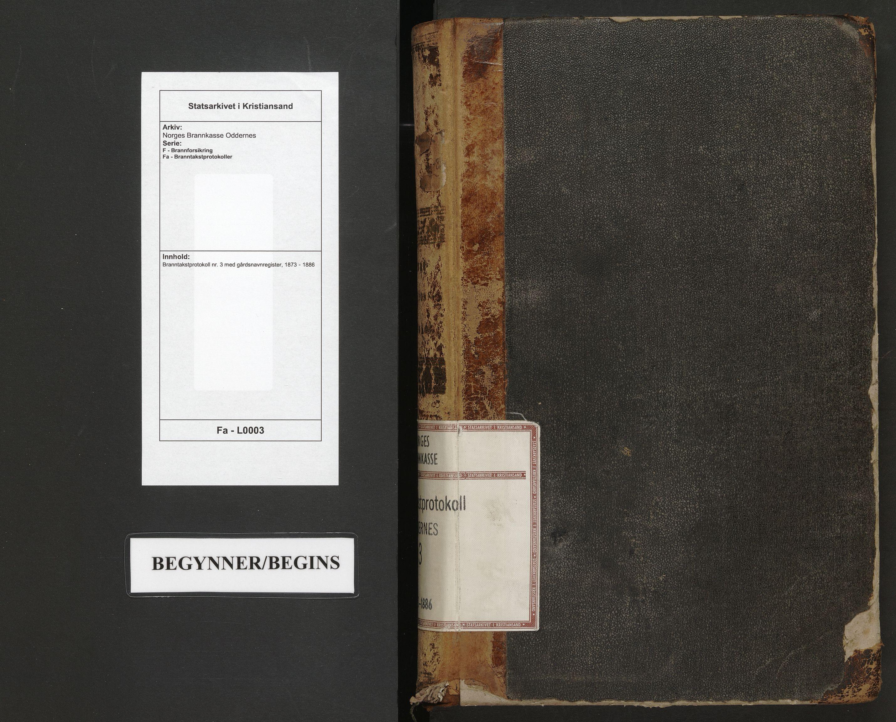 SAK, Norges Brannkasse Oddernes, F/Fa/L0003: Branntakstprotokoll nr. 3 med gårdsnavnregister, 1873-1886