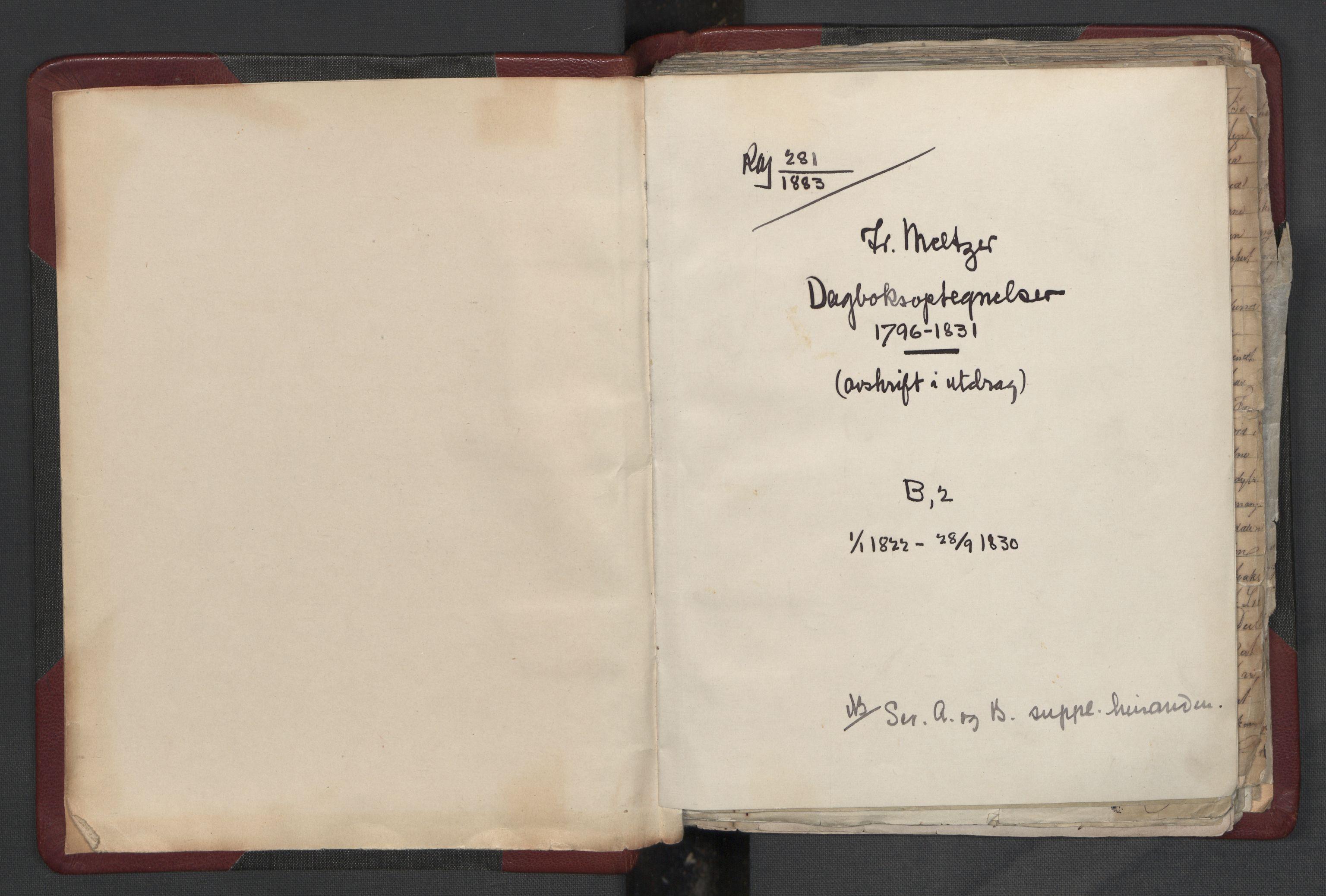 RA, Meltzer, Fredrik, F/L0004: Dagbok, 1822-1830, s. upaginert