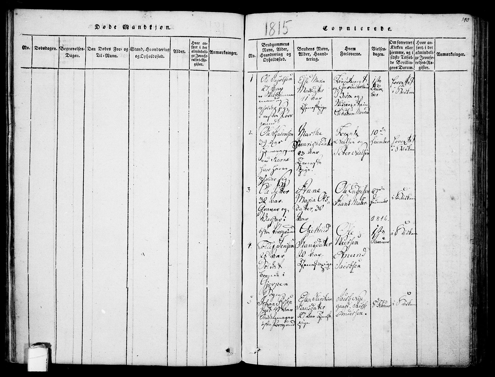 SAKO, Porsgrunn kirkebøker , F/Fa/L0004: Ministerialbok nr. 4, 1814-1828, s. 190