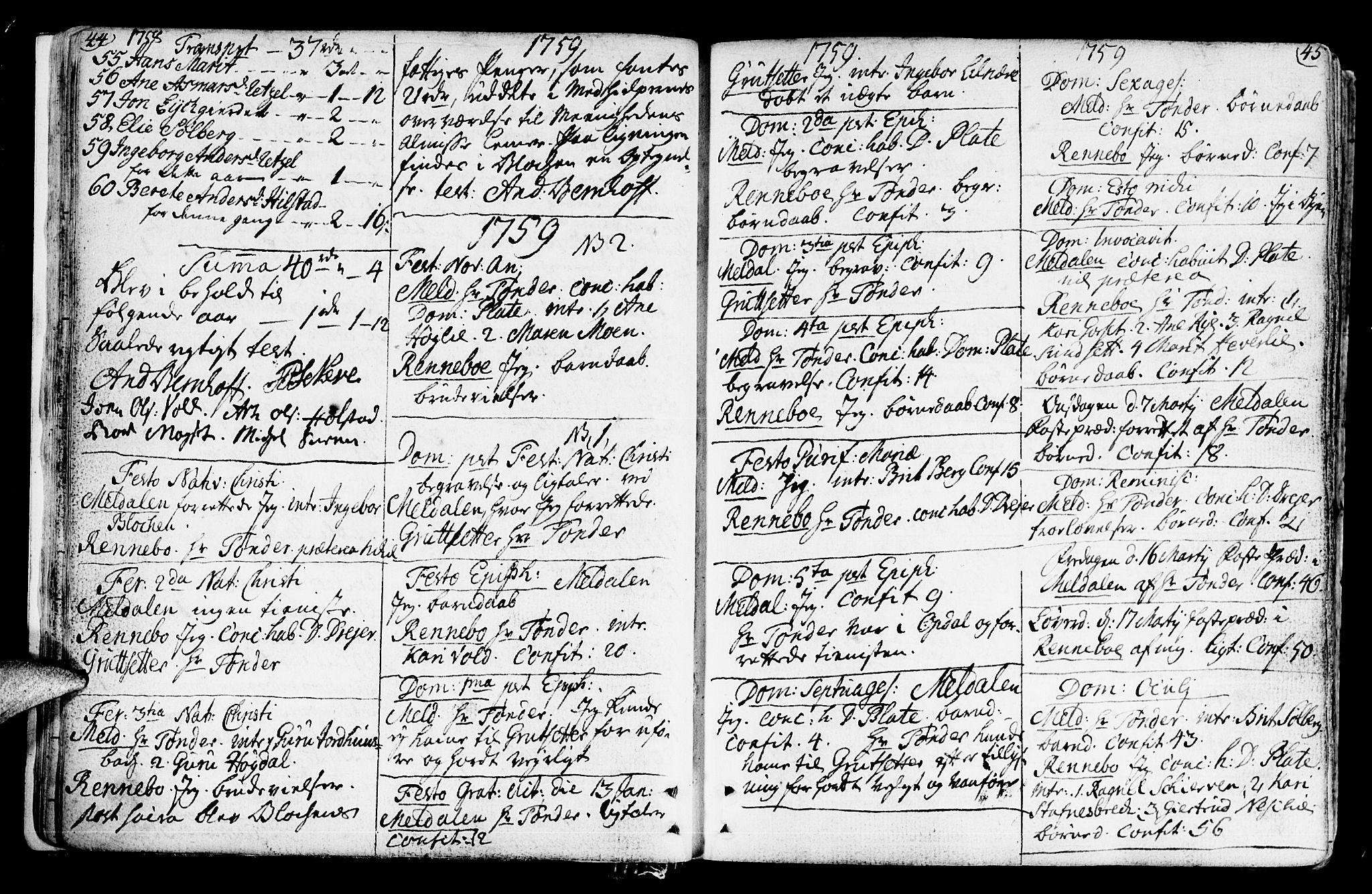 SAT, Ministerialprotokoller, klokkerbøker og fødselsregistre - Sør-Trøndelag, 672/L0851: Ministerialbok nr. 672A04, 1751-1775, s. 44-45