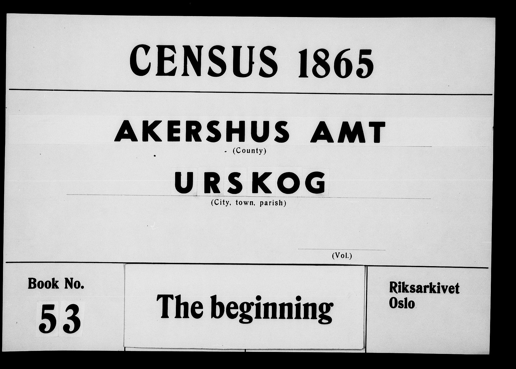 RA, Folketelling 1865 for 0224P Aurskog prestegjeld, 1865, s. 1