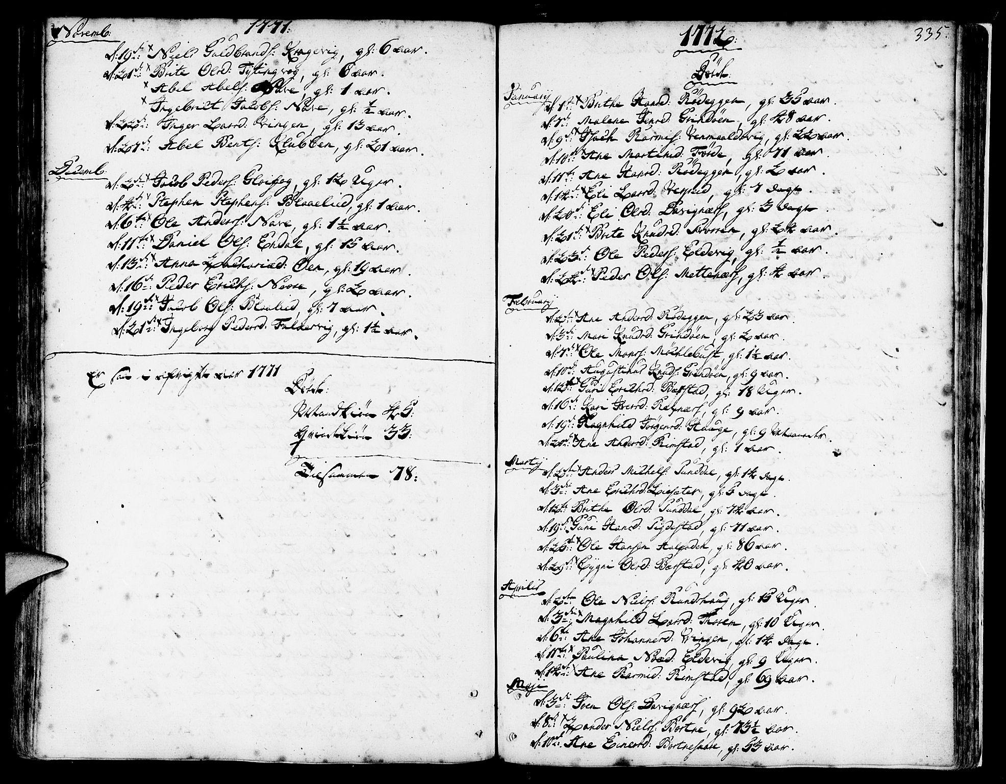 SAB, Davik Sokneprestembete, Ministerialbok nr. A 2, 1742-1816, s. 335