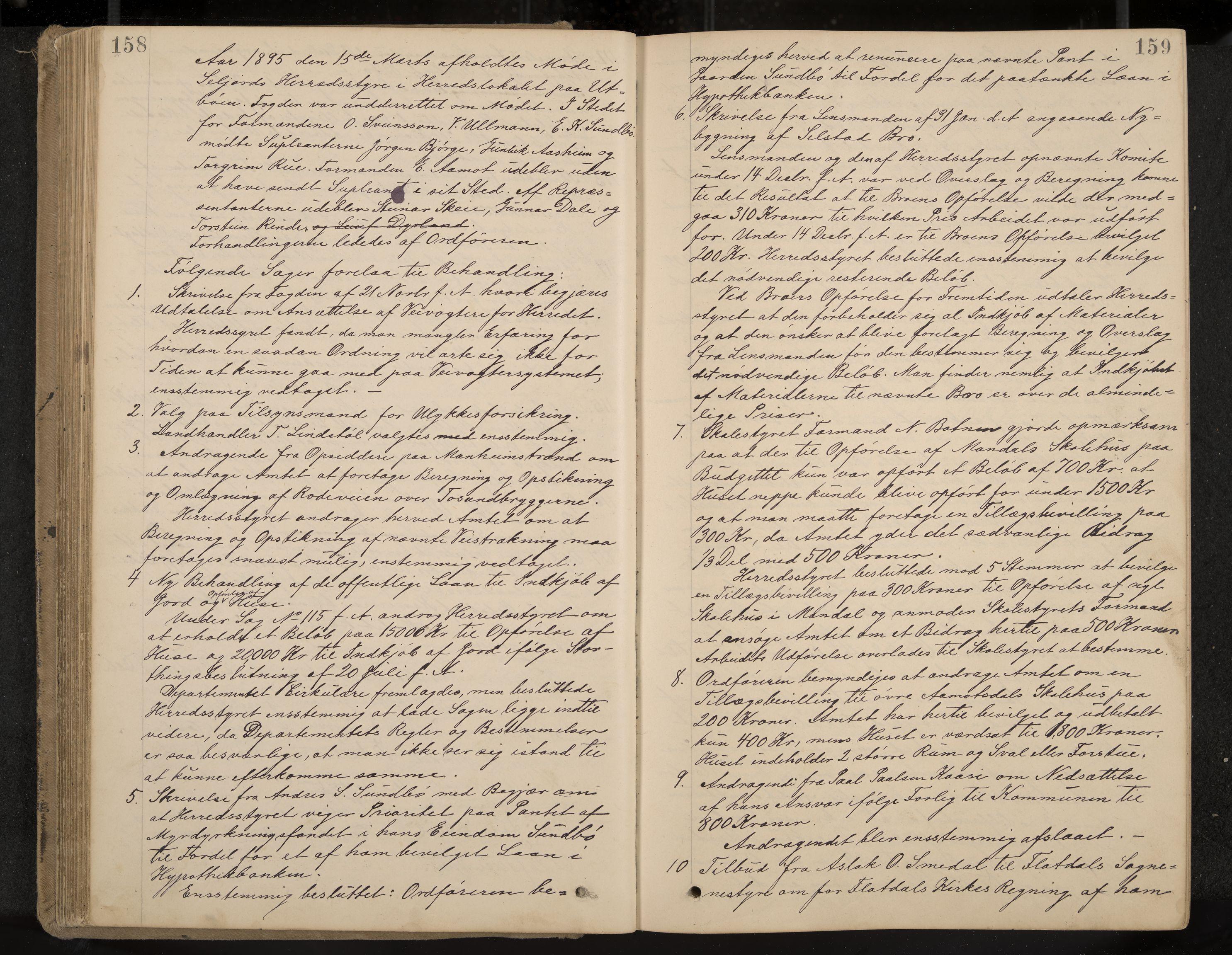 IKAK, Seljord formannskap og sentraladministrasjon, A/Aa/L0003: Møtebok med register, 1891-1905, s. 158-159