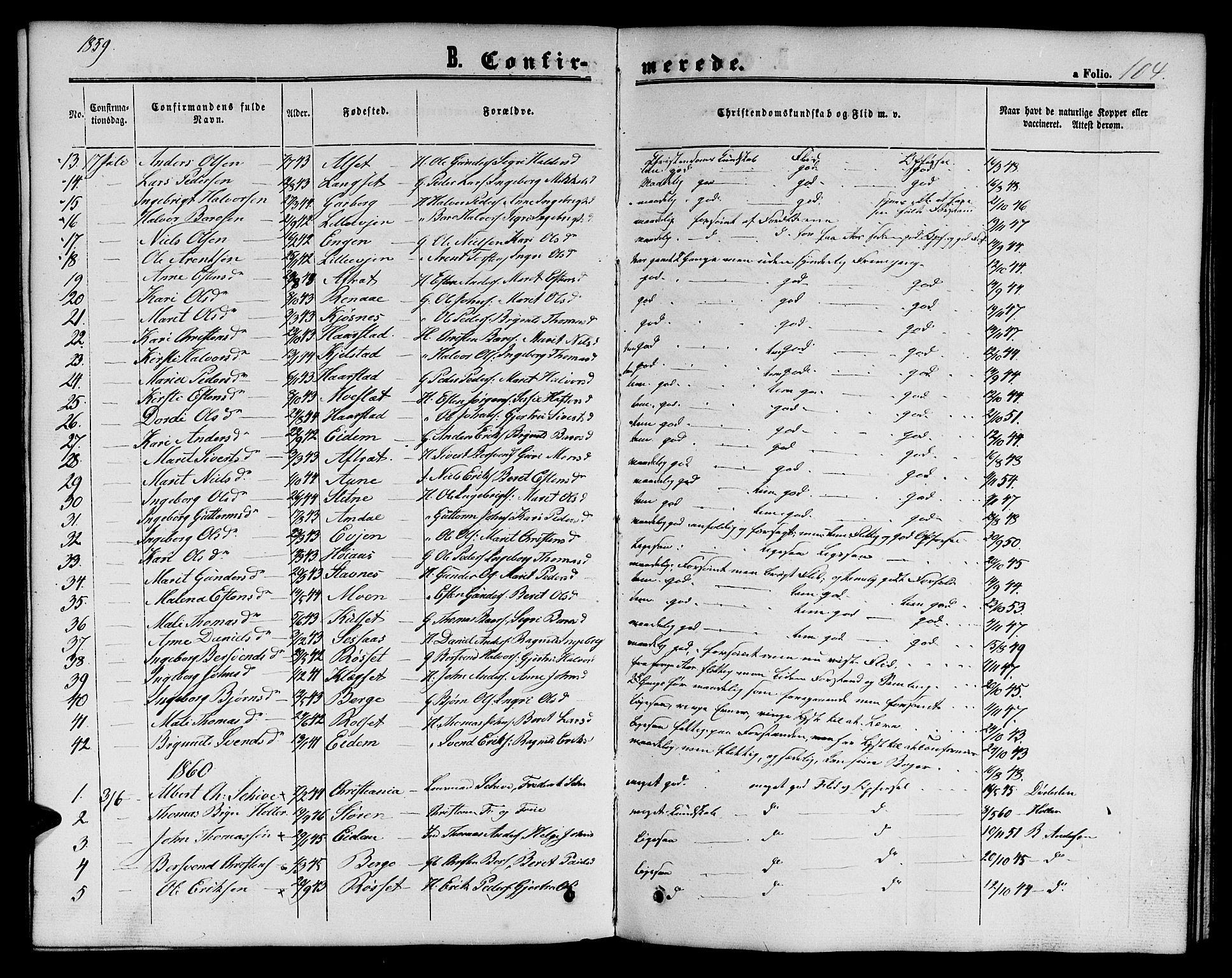 SAT, Ministerialprotokoller, klokkerbøker og fødselsregistre - Sør-Trøndelag, 695/L1155: Klokkerbok nr. 695C06, 1859-1868, s. 104