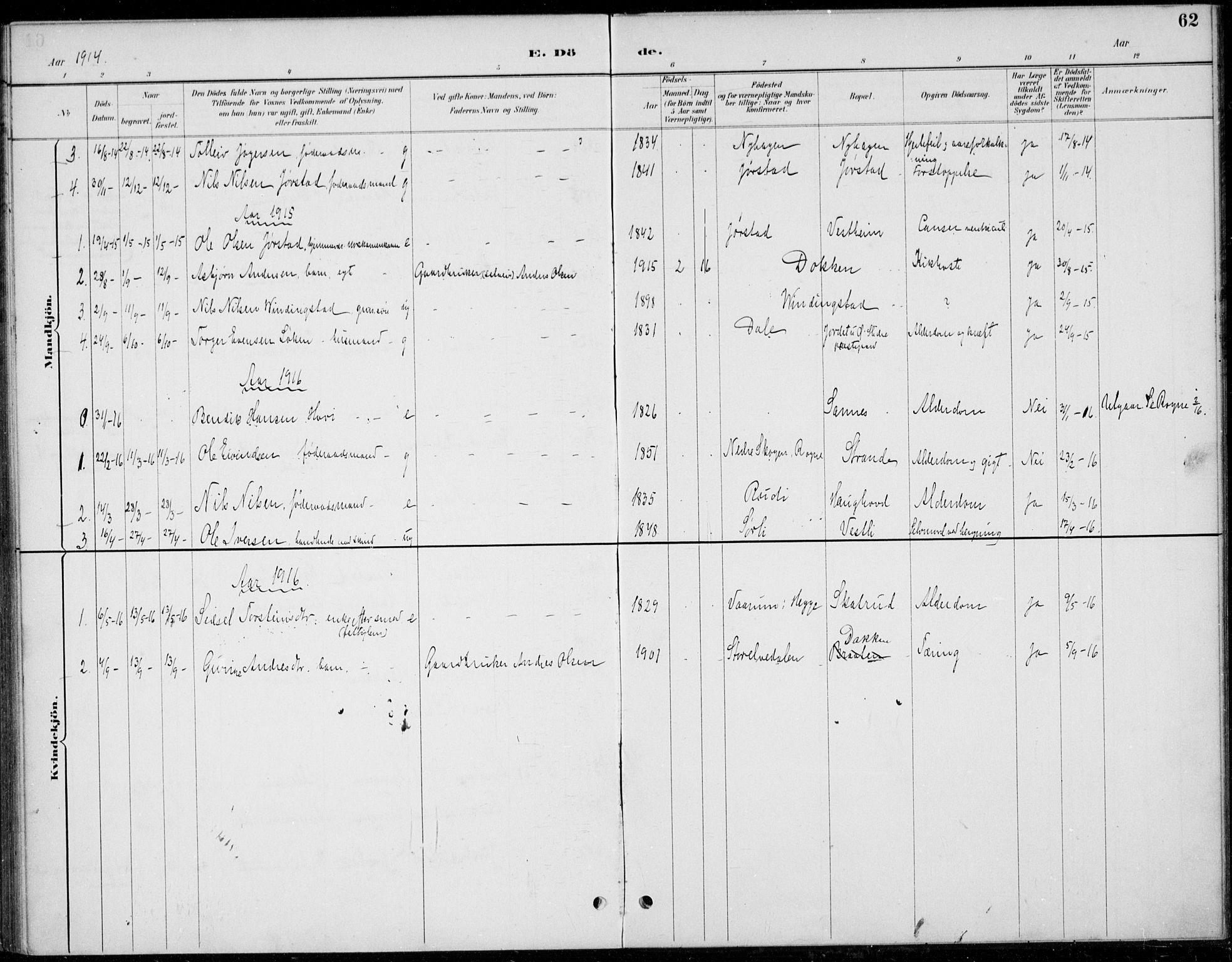 SAH, Øystre Slidre prestekontor, Ministerialbok nr. 5, 1887-1916, s. 62
