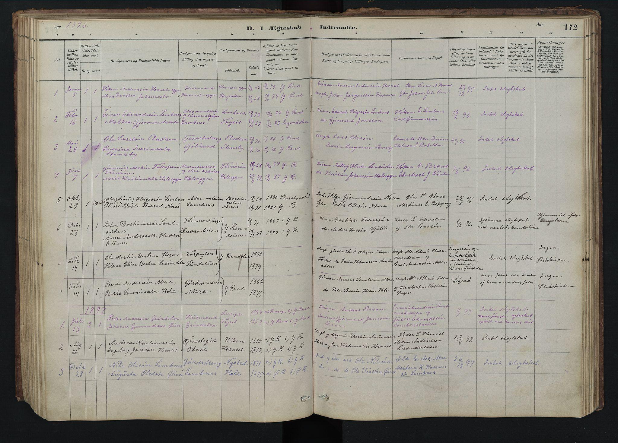 SAH, Rendalen prestekontor, H/Ha/Hab/L0009: Klokkerbok nr. 9, 1879-1902, s. 172