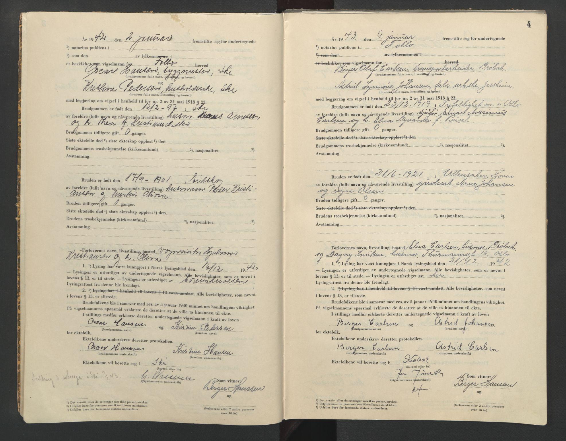 SAO, Follo sorenskriveri, L/La/Lab/L0002: Vigselsbok, 1942-1946, s. 4