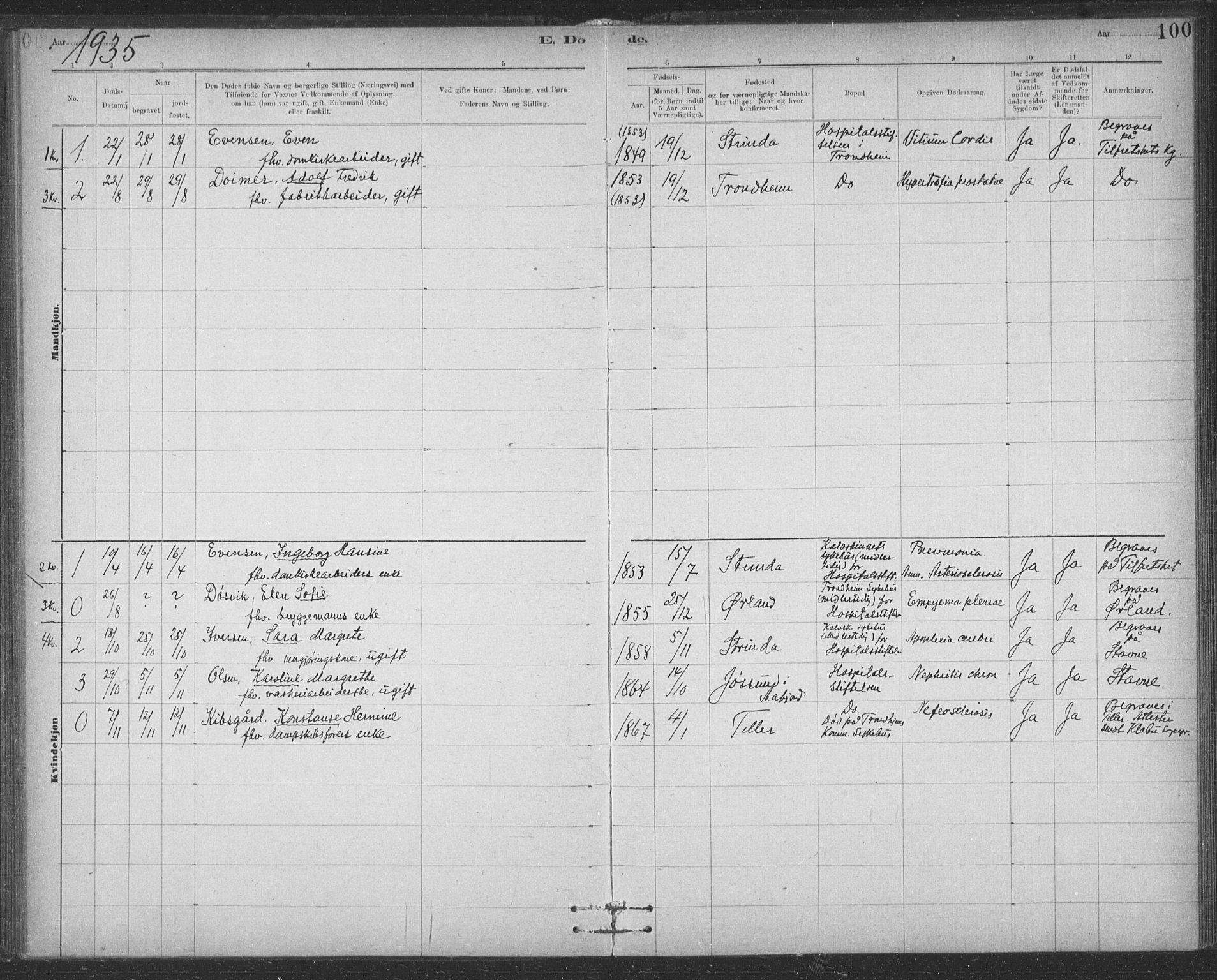 SAT, Ministerialprotokoller, klokkerbøker og fødselsregistre - Sør-Trøndelag, 623/L0470: Ministerialbok nr. 623A04, 1884-1938, s. 100