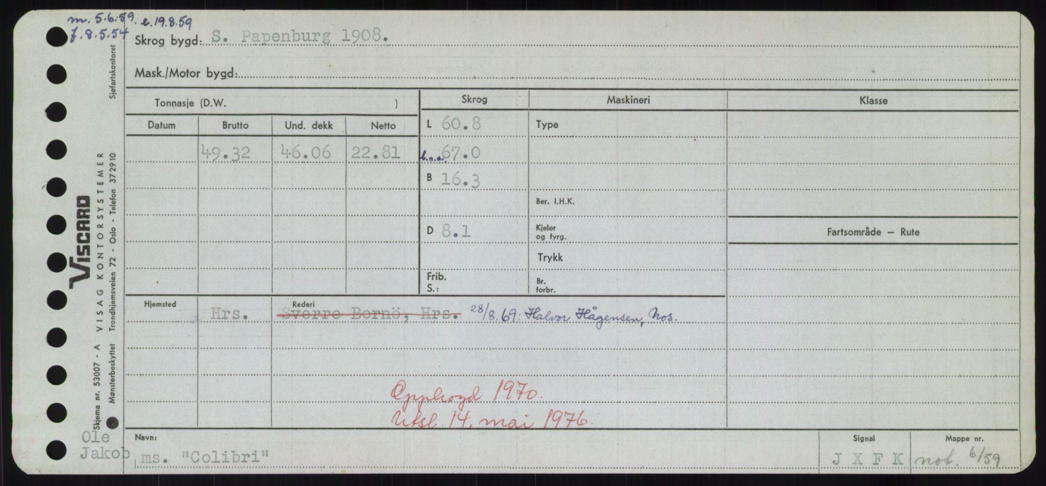 RA, Sjøfartsdirektoratet med forløpere, Skipsmålingen, H/Hd/L0008: Fartøy, C-D, s. 93