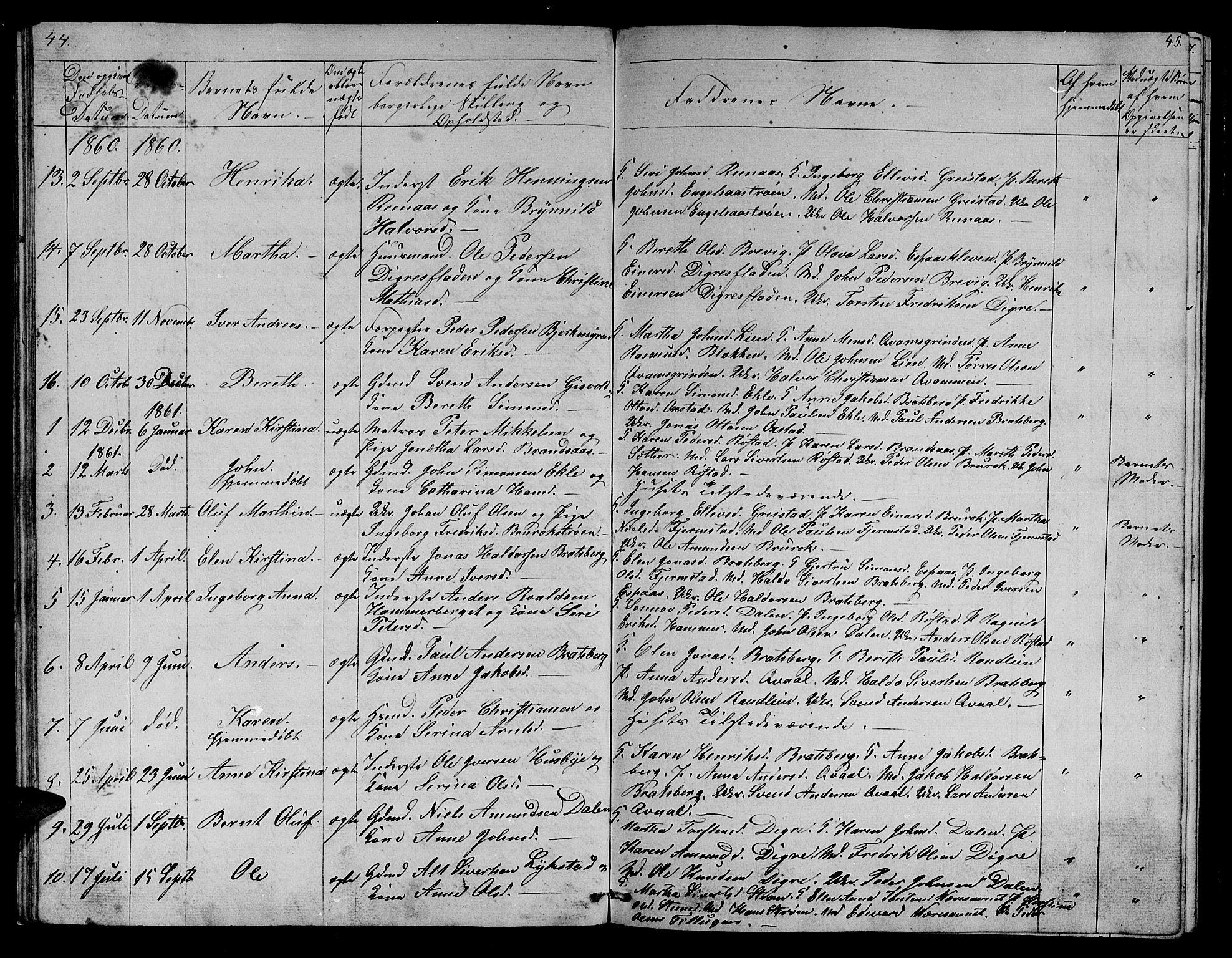 SAT, Ministerialprotokoller, klokkerbøker og fødselsregistre - Sør-Trøndelag, 608/L0339: Klokkerbok nr. 608C05, 1844-1863, s. 44-45