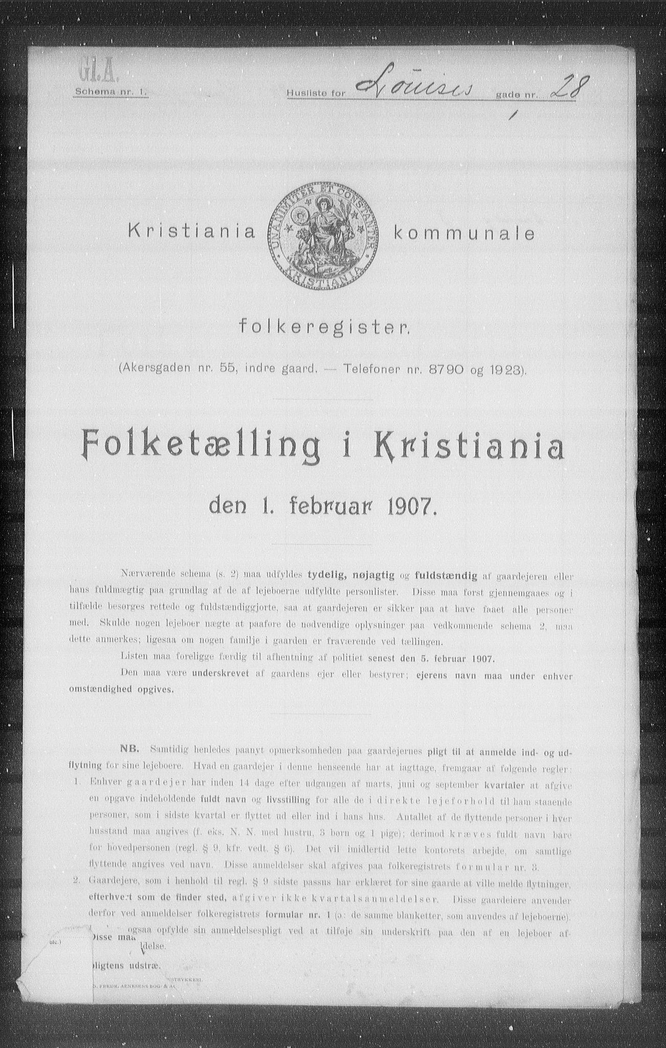 OBA, Kommunal folketelling 1907 for Kristiania kjøpstad, 1907, s. 29851