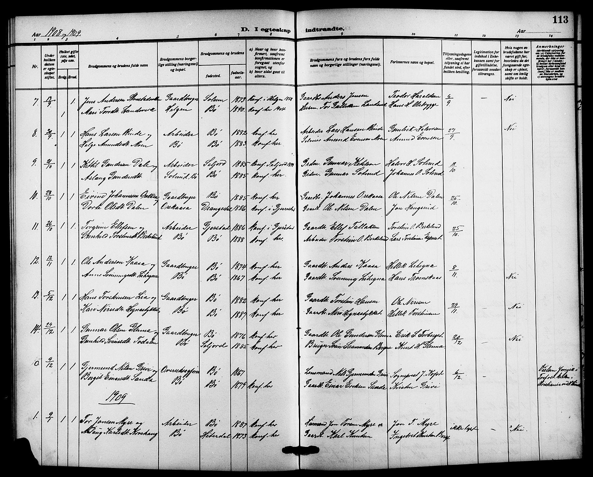 SAKO, Bø kirkebøker, G/Ga/L0007: Klokkerbok nr. 7, 1909-1924, s. 113