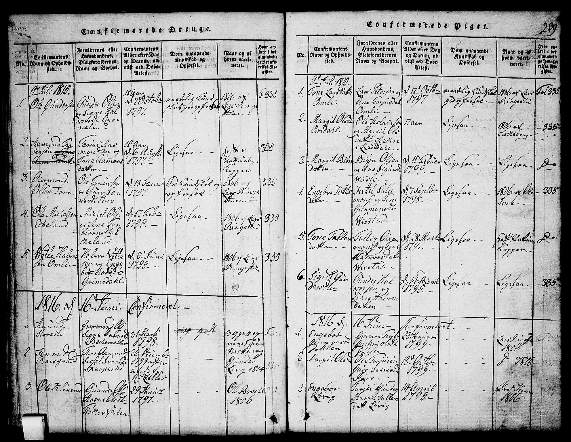 SAKO, Mo kirkebøker, G/Gb/L0001: Klokkerbok nr. II 1, 1814-1843, s. 239