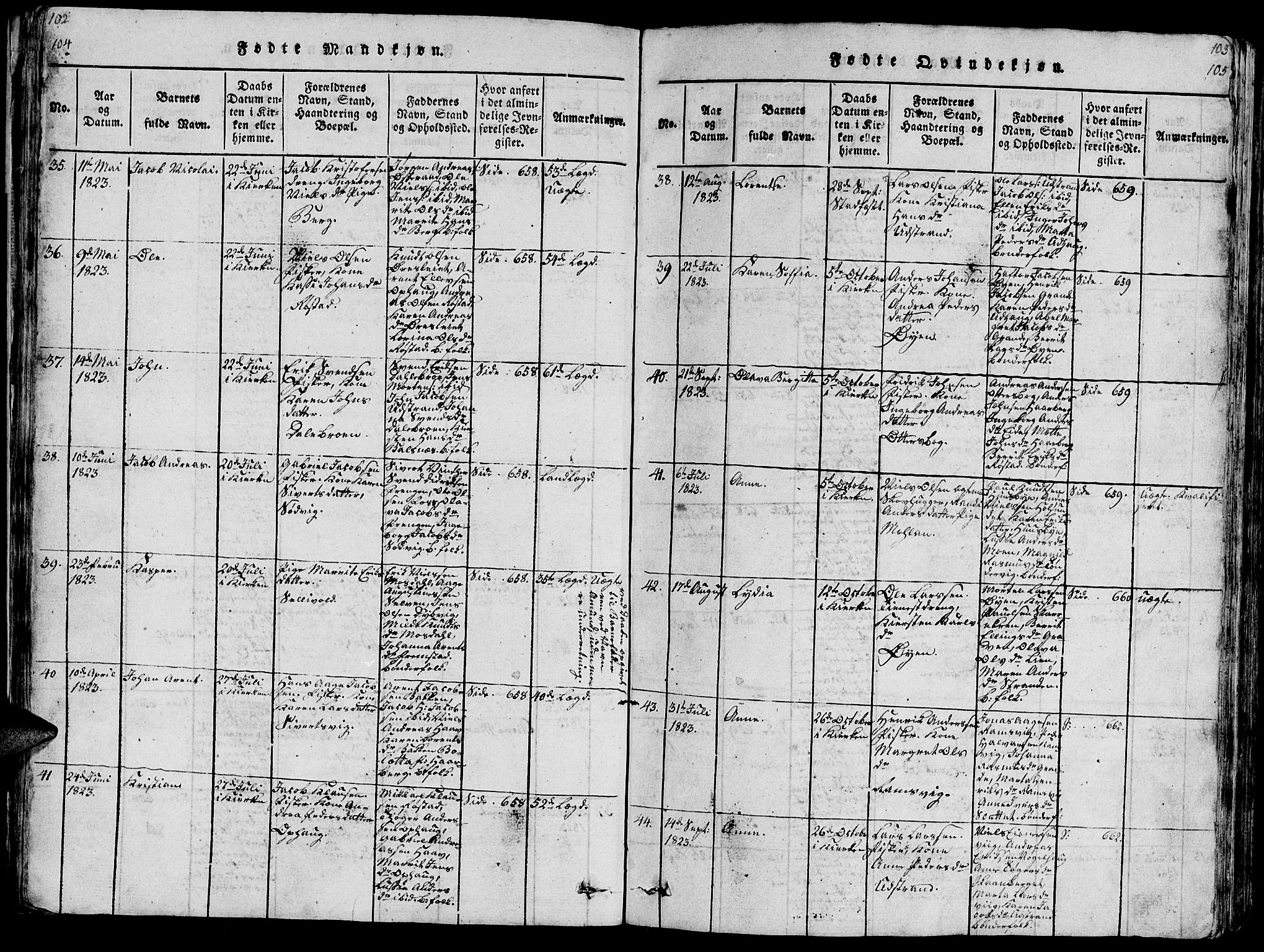 SAT, Ministerialprotokoller, klokkerbøker og fødselsregistre - Sør-Trøndelag, 659/L0744: Klokkerbok nr. 659C01, 1818-1825, s. 104-105