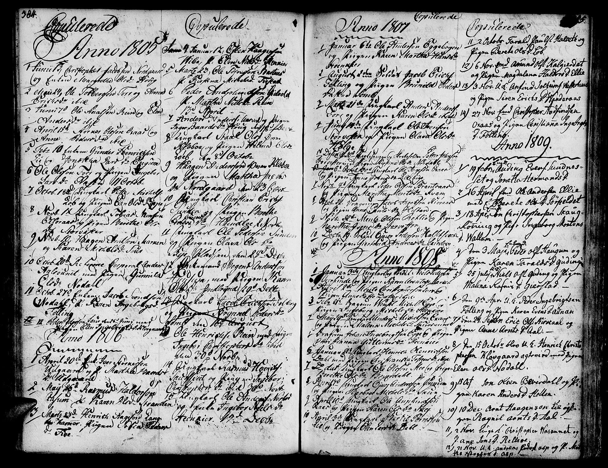 SAT, Ministerialprotokoller, klokkerbøker og fødselsregistre - Nord-Trøndelag, 746/L0440: Ministerialbok nr. 746A02, 1760-1815, s. 384-385