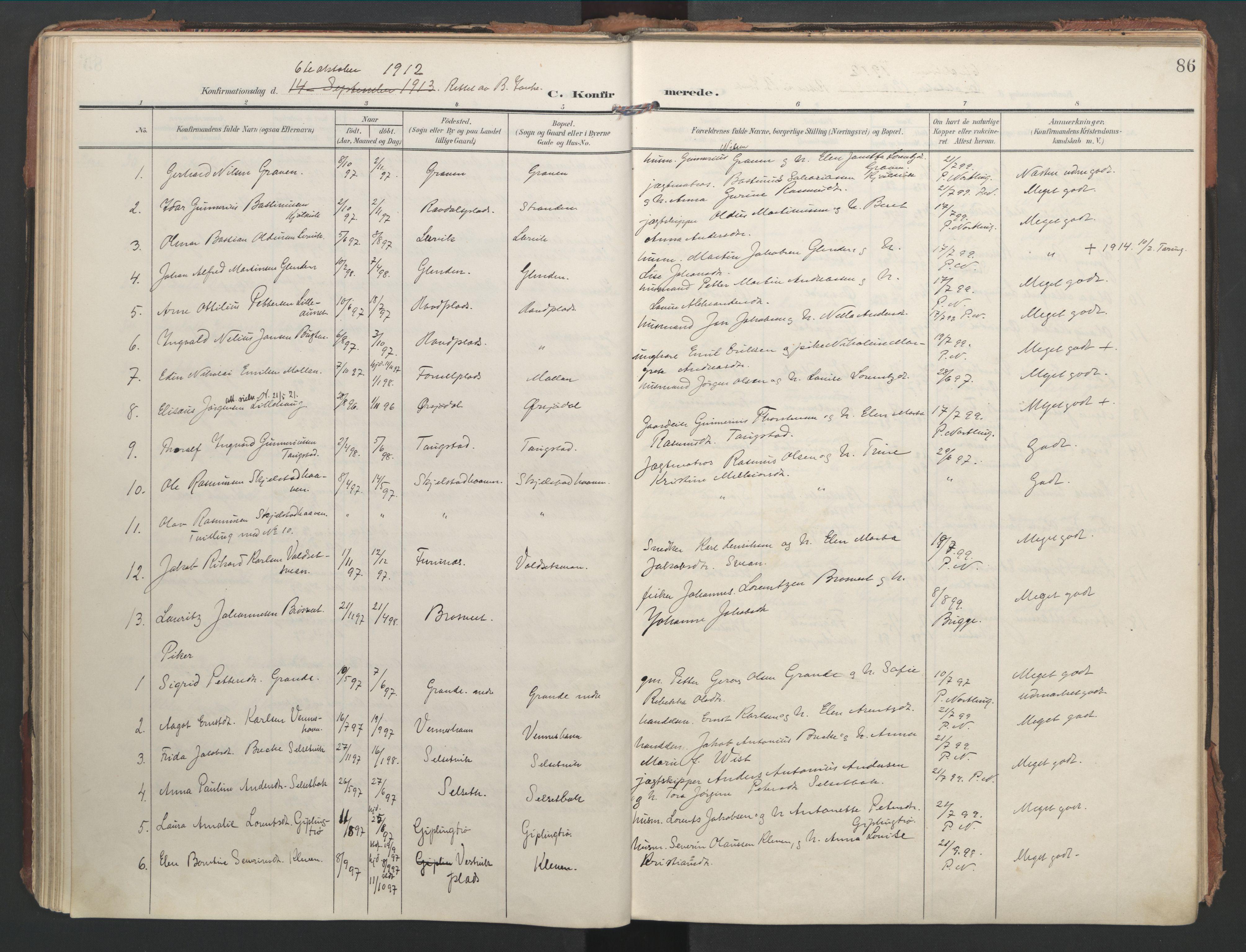 SAT, Ministerialprotokoller, klokkerbøker og fødselsregistre - Nord-Trøndelag, 744/L0421: Ministerialbok nr. 744A05, 1905-1930, s. 86