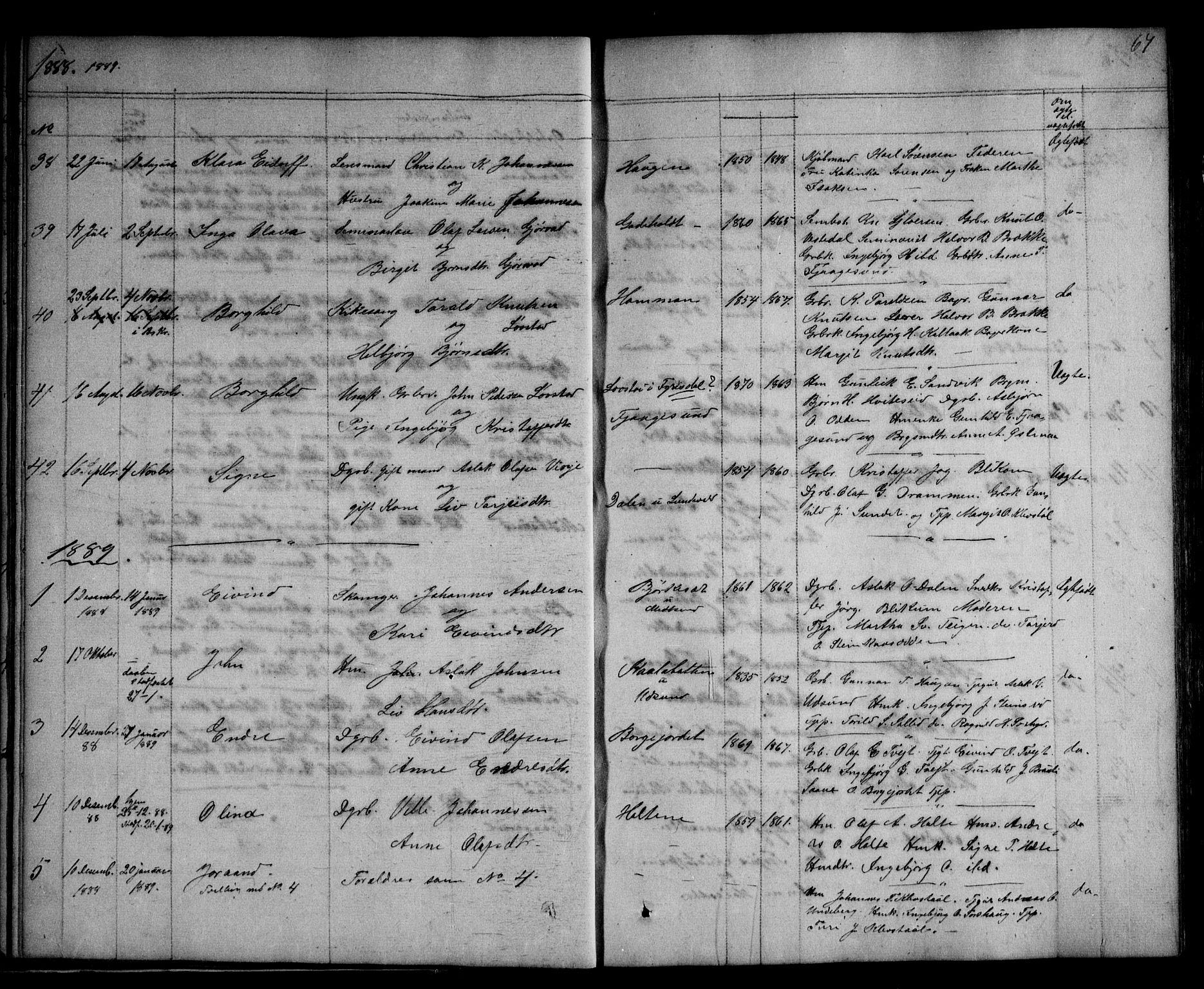 SAKO, Kviteseid kirkebøker, G/Ga/L0001: Klokkerbok nr. I 1, 1850-1893, s. 67