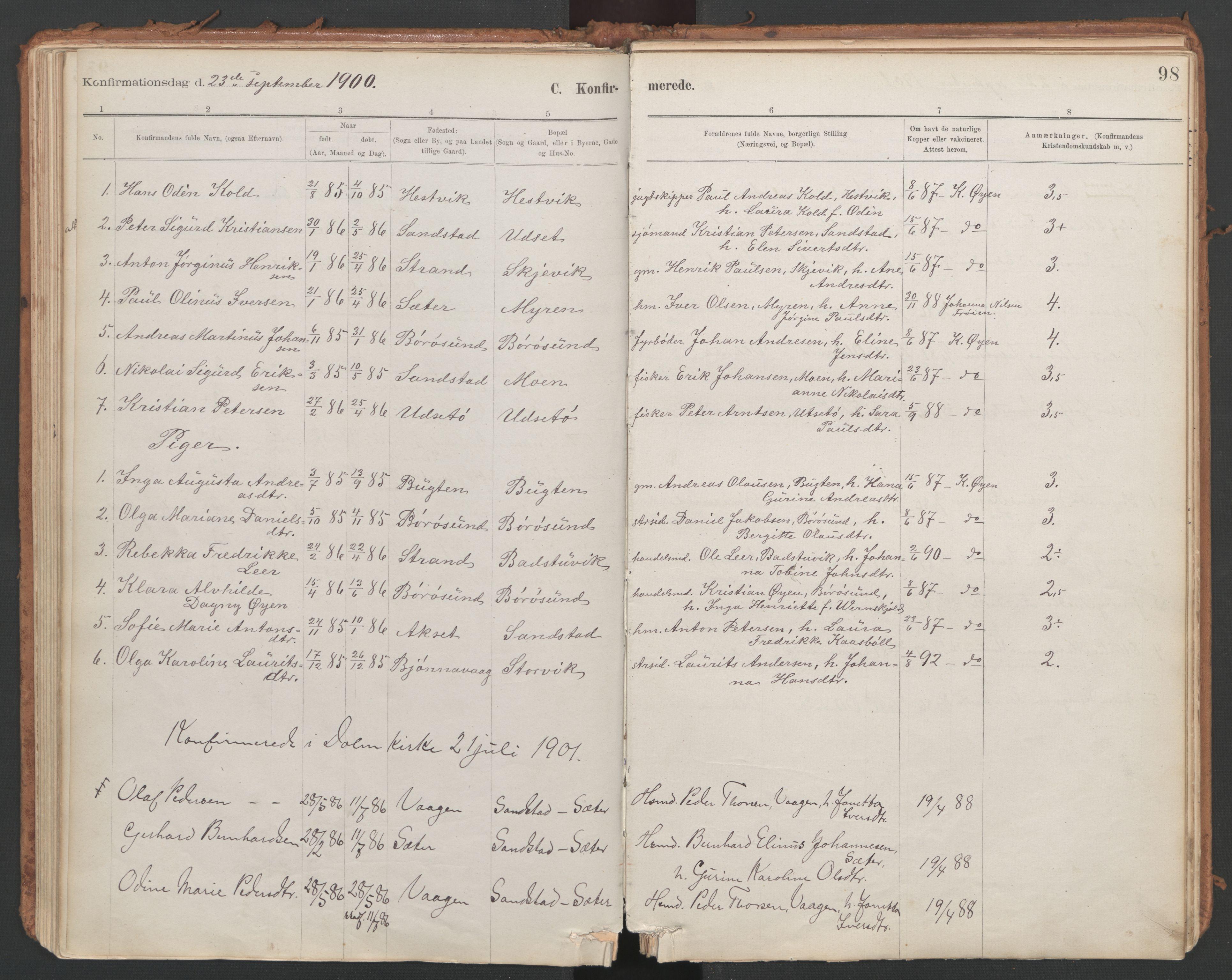 SAT, Ministerialprotokoller, klokkerbøker og fødselsregistre - Sør-Trøndelag, 639/L0572: Ministerialbok nr. 639A01, 1890-1920, s. 98