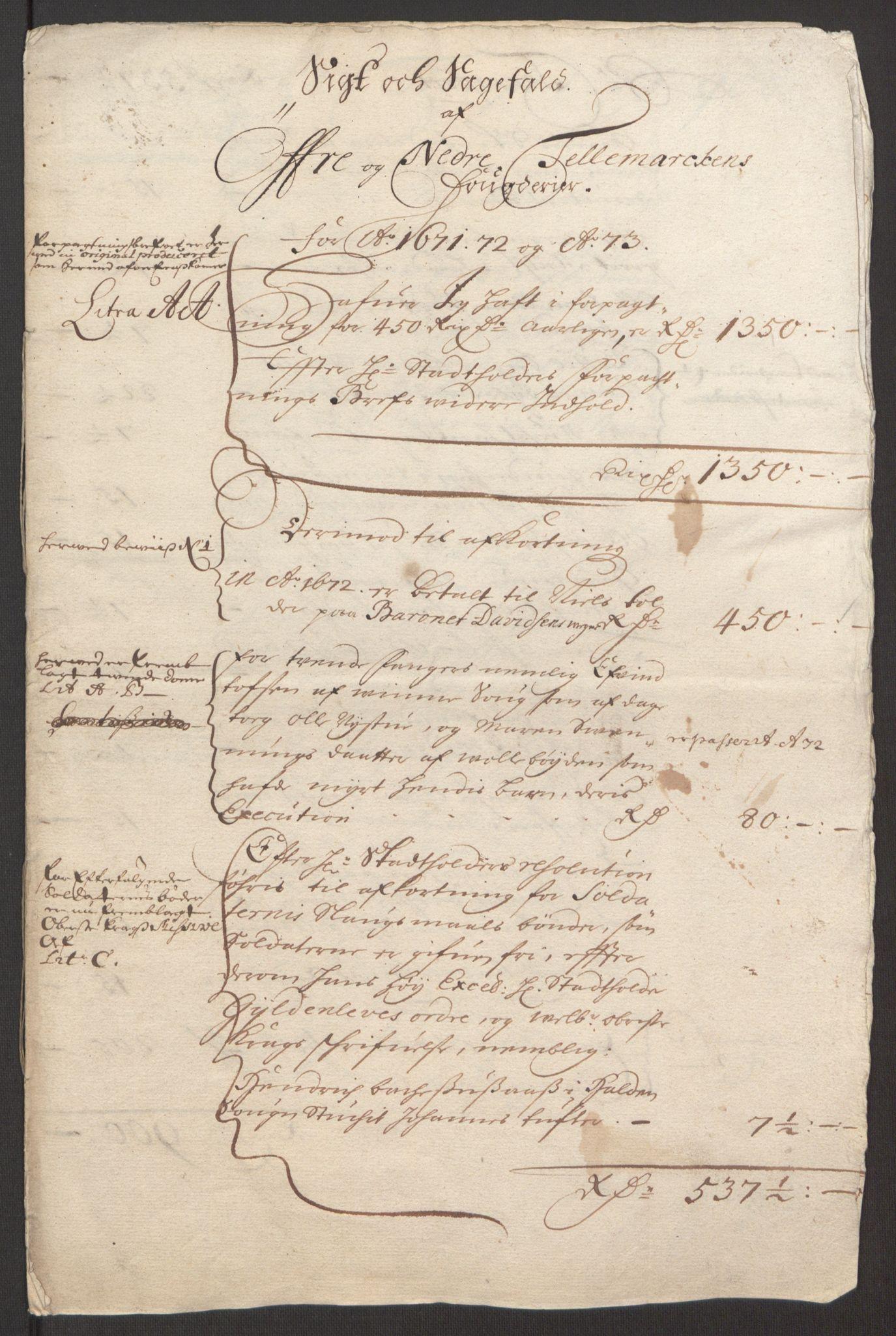 RA, Rentekammeret inntil 1814, Reviderte regnskaper, Fogderegnskap, R35/L2061: Fogderegnskap Øvre og Nedre Telemark, 1673-1674, s. 210
