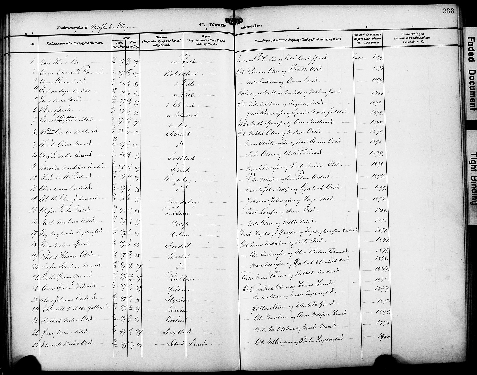 SAB, Fjell Sokneprestembete, H/Hab: Klokkerbok nr. A 5, 1899-1918, s. 233