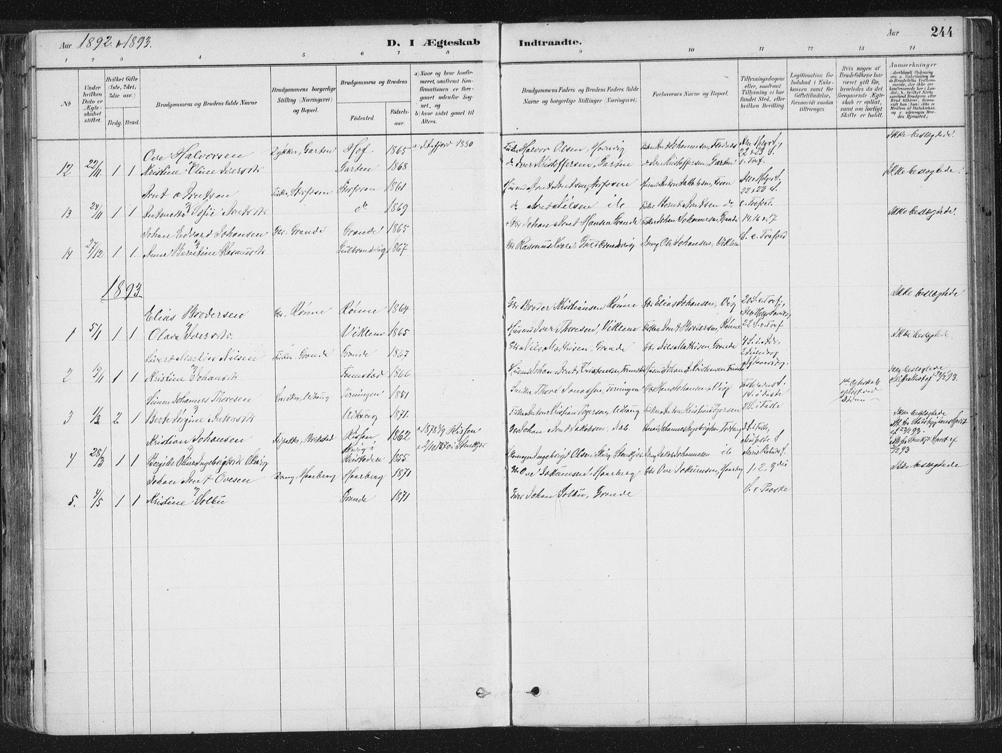 SAT, Ministerialprotokoller, klokkerbøker og fødselsregistre - Sør-Trøndelag, 659/L0739: Ministerialbok nr. 659A09, 1879-1893, s. 244