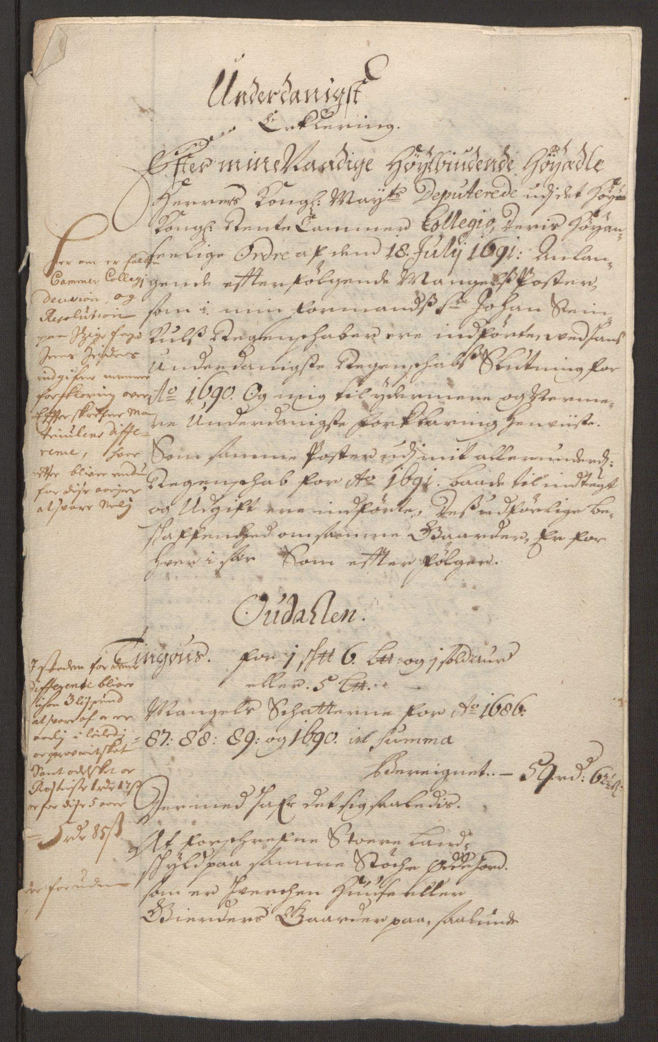 RA, Rentekammeret inntil 1814, Reviderte regnskaper, Fogderegnskap, R13/L0830: Fogderegnskap Solør, Odal og Østerdal, 1692, s. 440