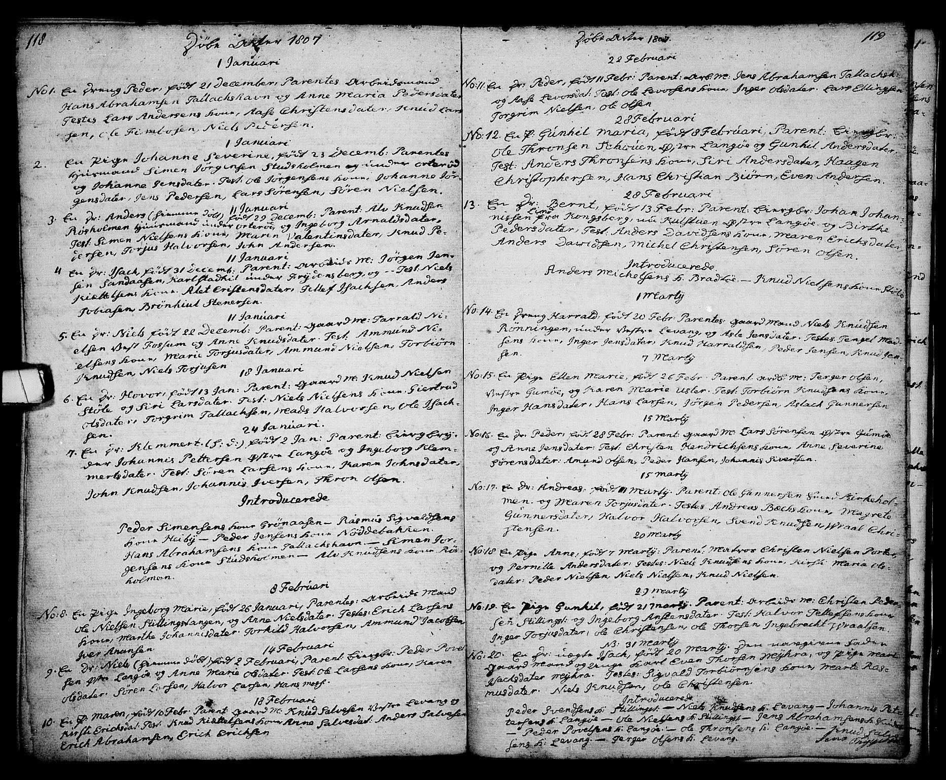SAKO, Kragerø kirkebøker, G/Ga/L0001: Klokkerbok nr. 1 /2, 1806-1811, s. 118-119