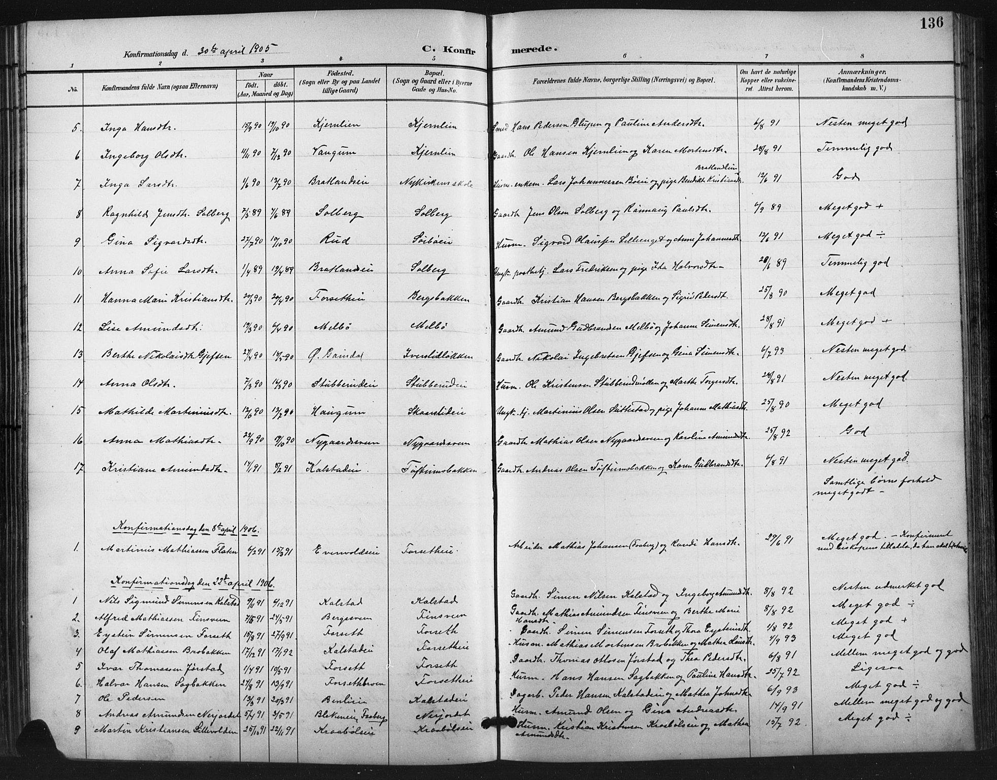 SAH, Vestre Gausdal prestekontor, Klokkerbok nr. 3, 1896-1925, s. 136