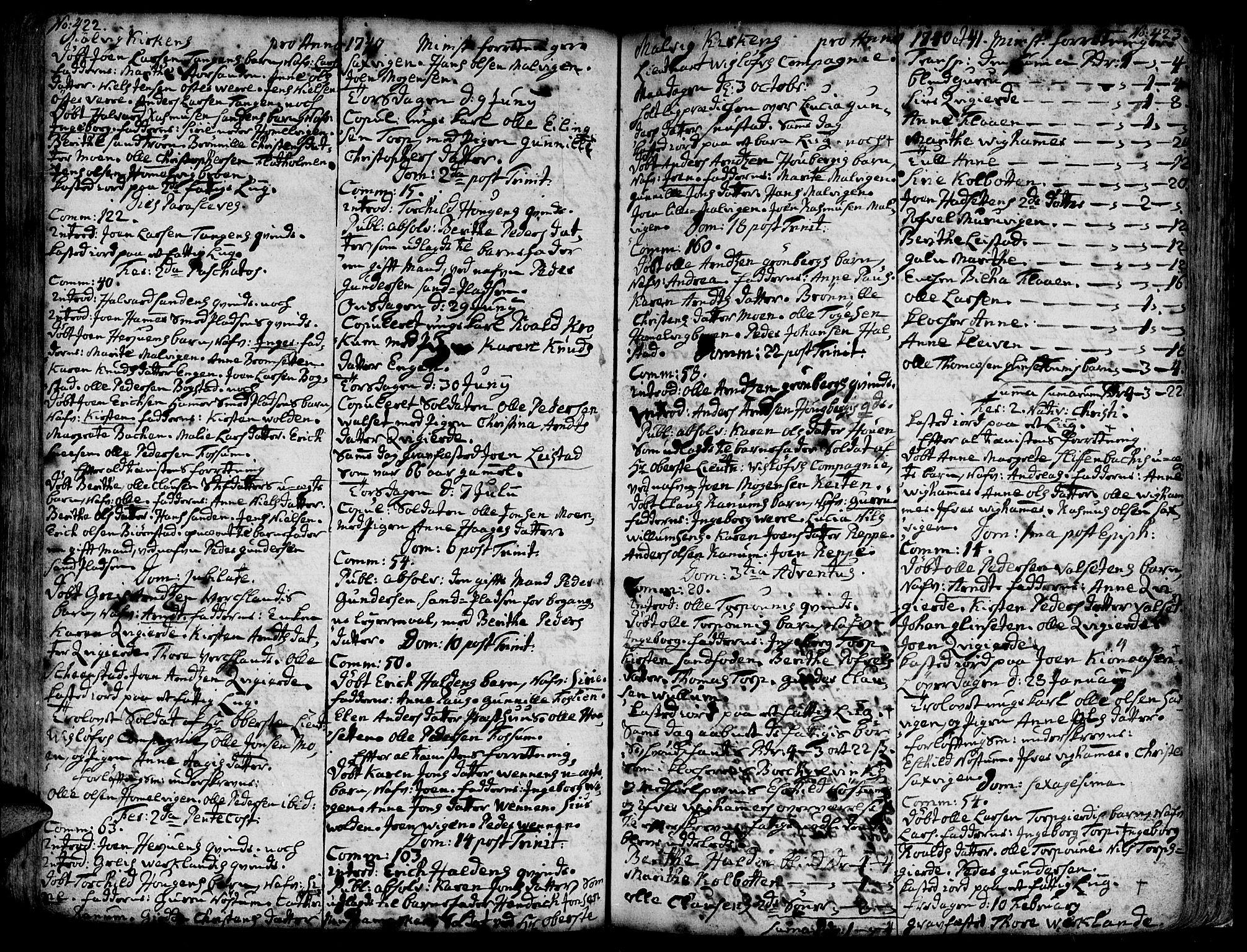 SAT, Ministerialprotokoller, klokkerbøker og fødselsregistre - Sør-Trøndelag, 606/L0277: Ministerialbok nr. 606A01 /3, 1727-1780, s. 422-423
