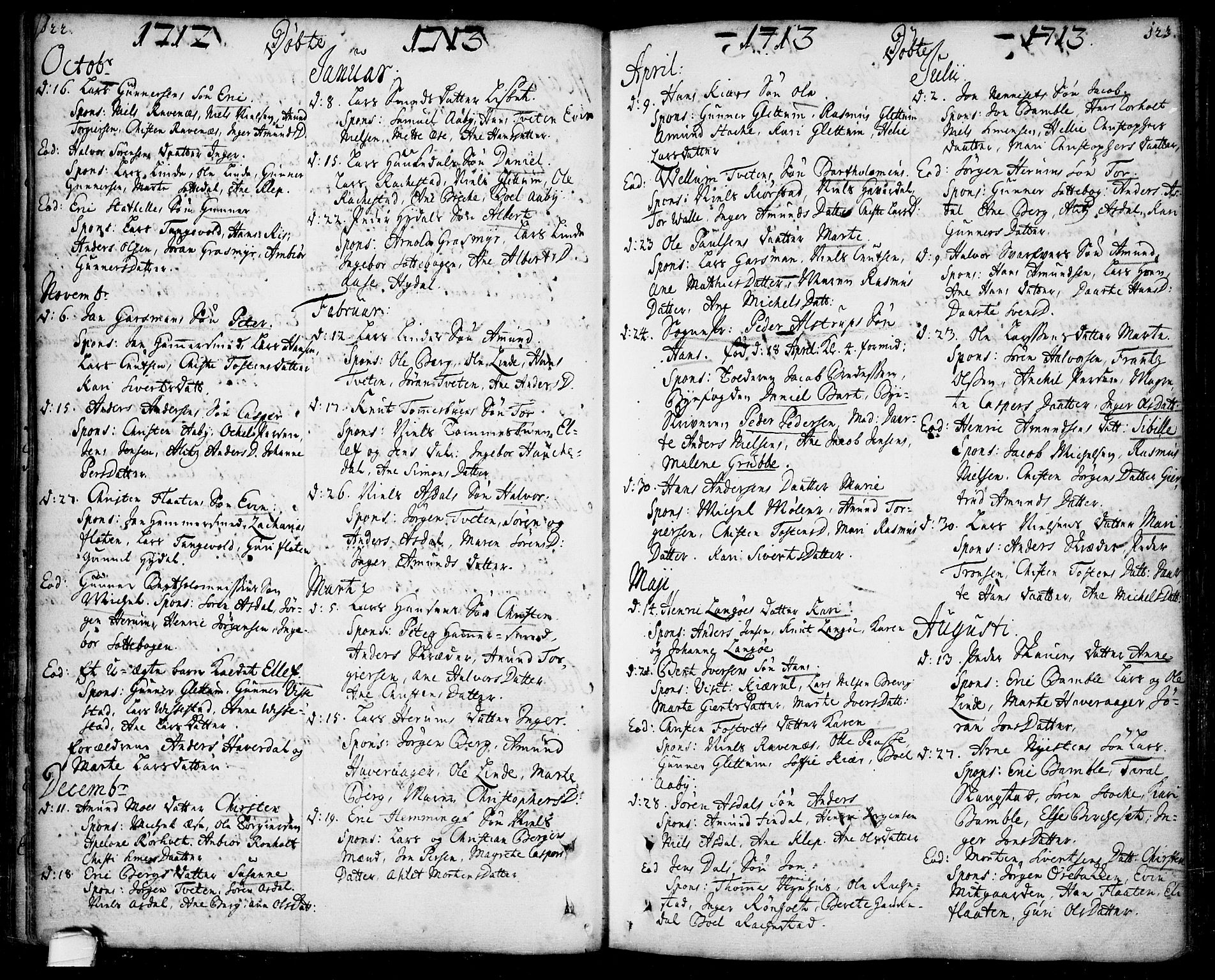 SAKO, Bamble kirkebøker, F/Fa/L0001: Ministerialbok nr. I 1, 1702-1774, s. 122-123