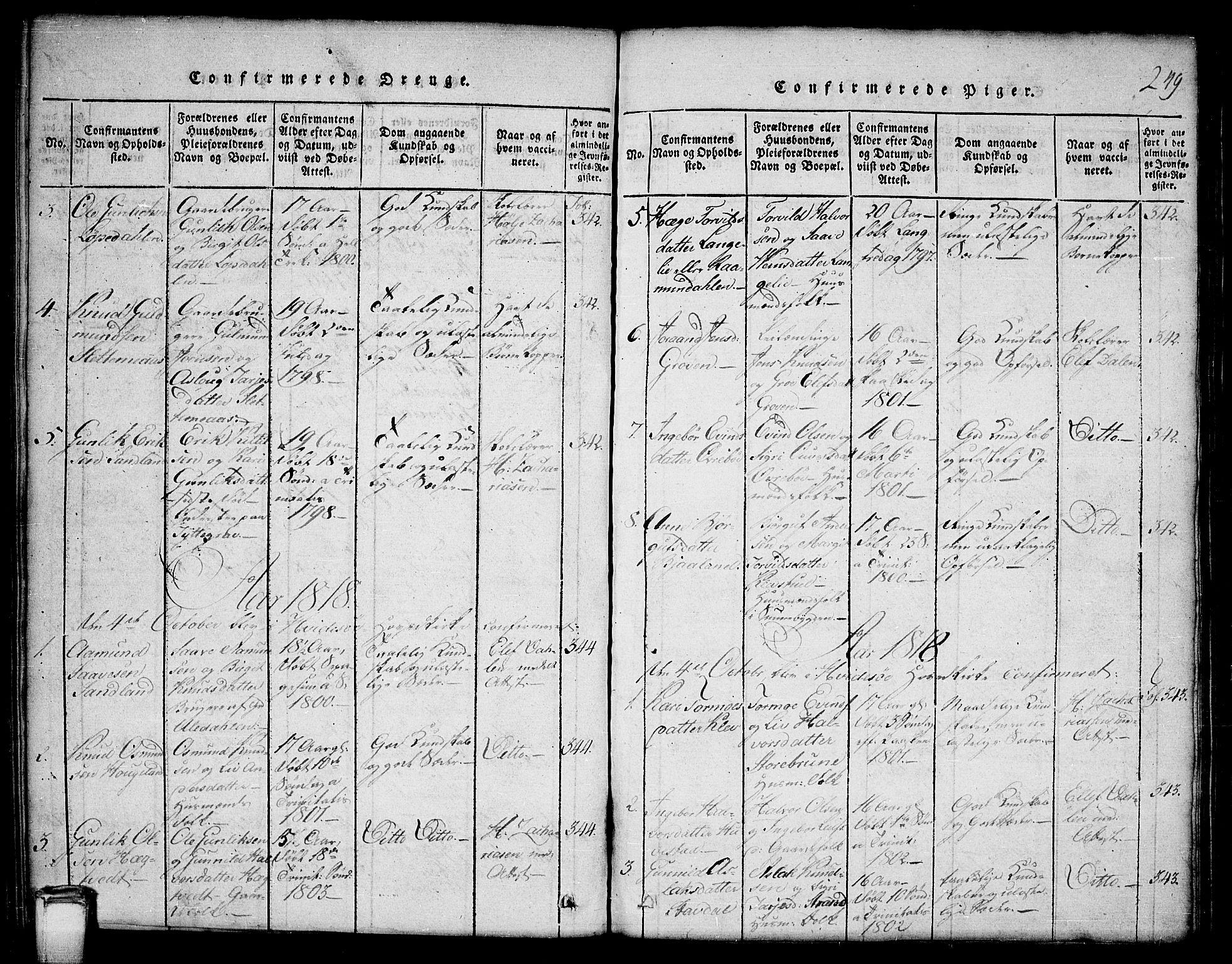 SAKO, Kviteseid kirkebøker, G/Gb/L0001: Klokkerbok nr. II 1, 1815-1842, s. 249