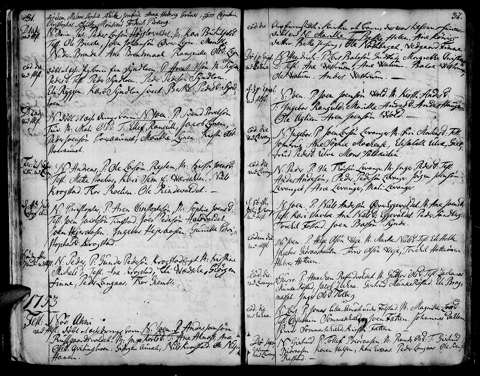 SAT, Ministerialprotokoller, klokkerbøker og fødselsregistre - Nord-Trøndelag, 717/L0141: Ministerialbok nr. 717A01, 1747-1803, s. 31-32