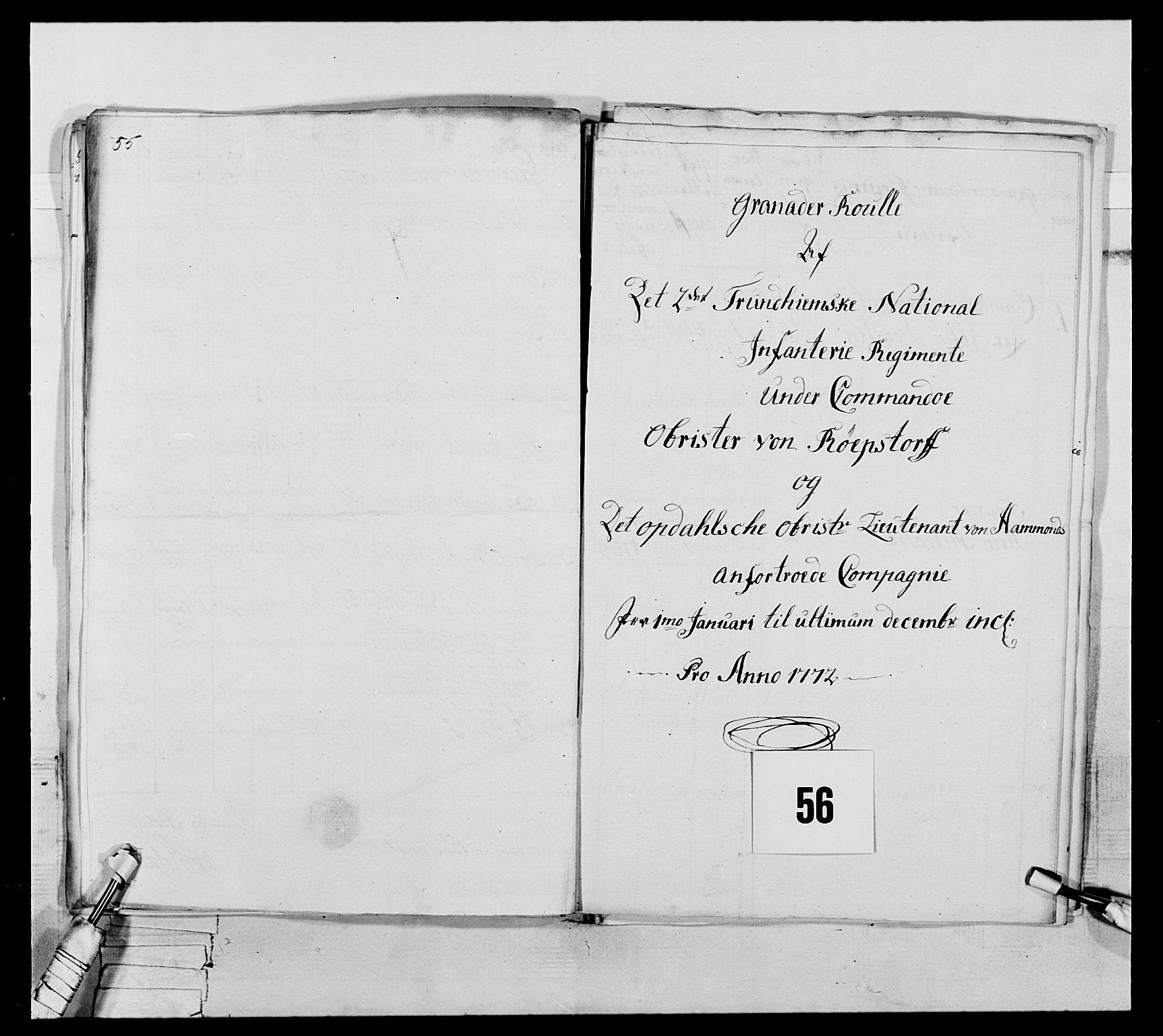 RA, Generalitets- og kommissariatskollegiet, Det kongelige norske kommissariatskollegium, E/Eh/L0076: 2. Trondheimske nasjonale infanteriregiment, 1766-1773, s. 191