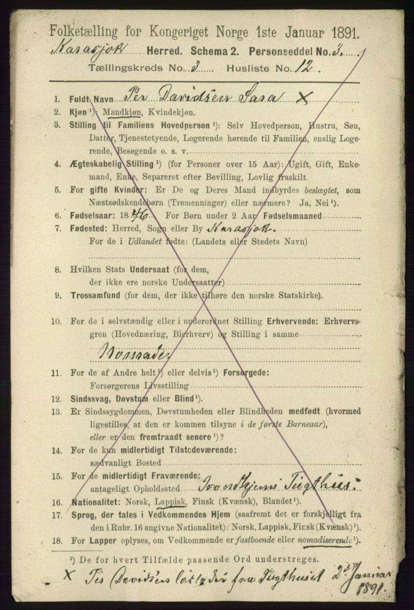 RA, Folketelling 1891 for 2021 Karasjok herred, 1891, s. 620