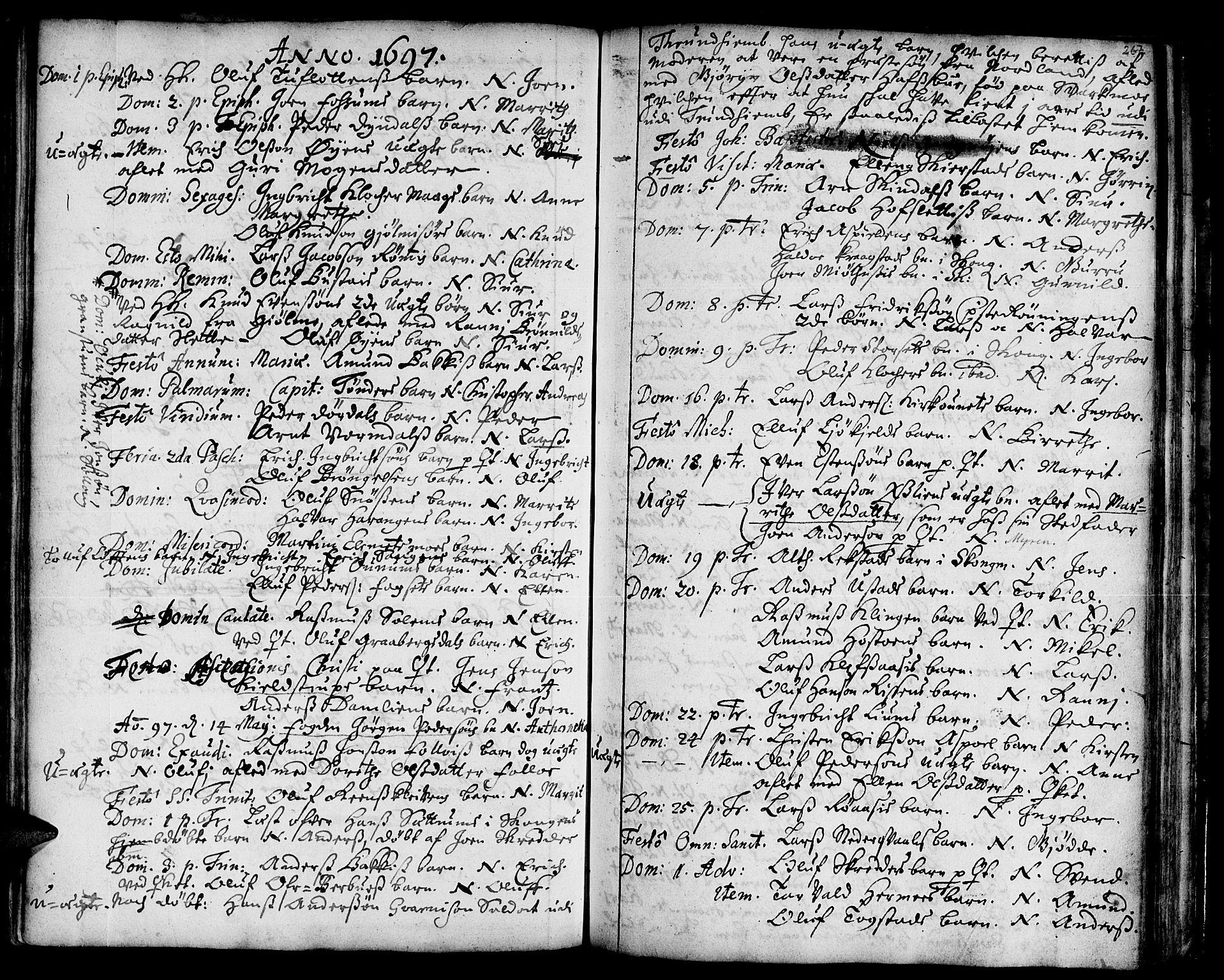 SAT, Ministerialprotokoller, klokkerbøker og fødselsregistre - Sør-Trøndelag, 668/L0801: Ministerialbok nr. 668A01, 1695-1716, s. 266-267